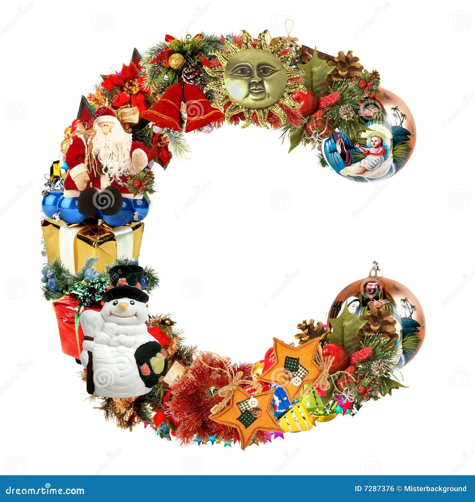 Letra C, para la decoración de la Navidad