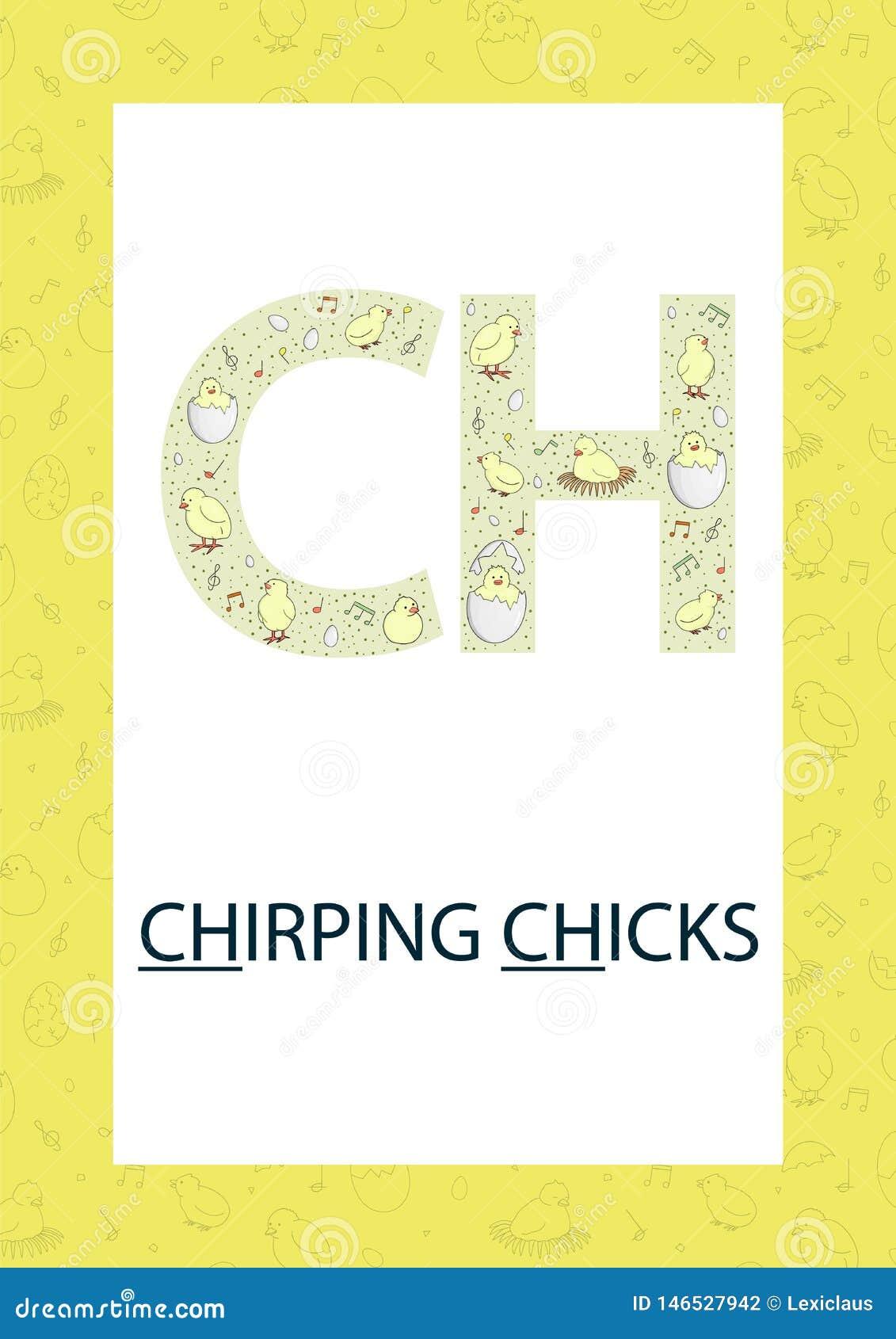 Letra colorida C do alfabeto Flashcard da f?nica Som bonito do CH para a leitura de ensino com as galinhas do estilo dos desenhos