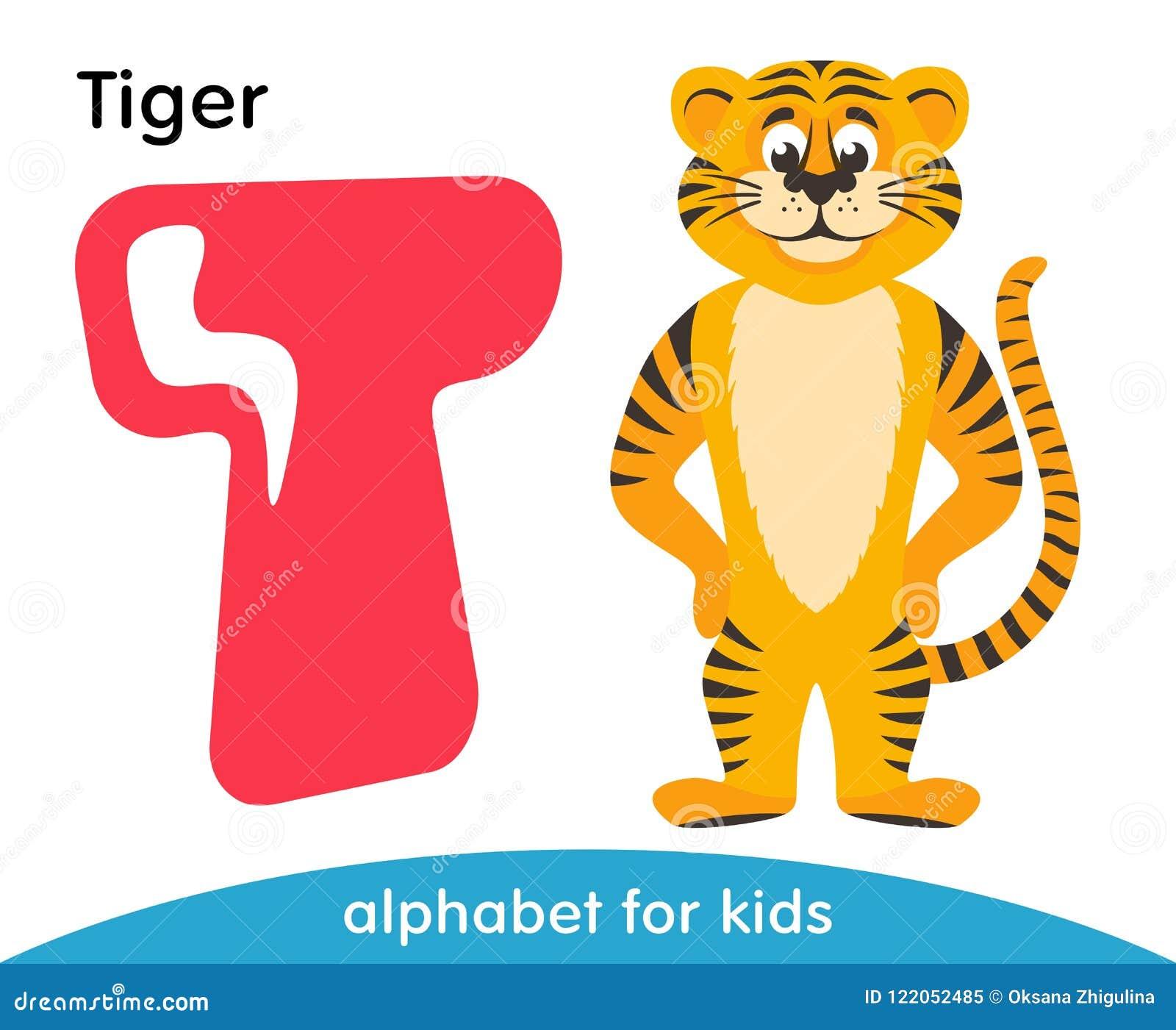 Letra cor-de-rosa T e tigre amarelo