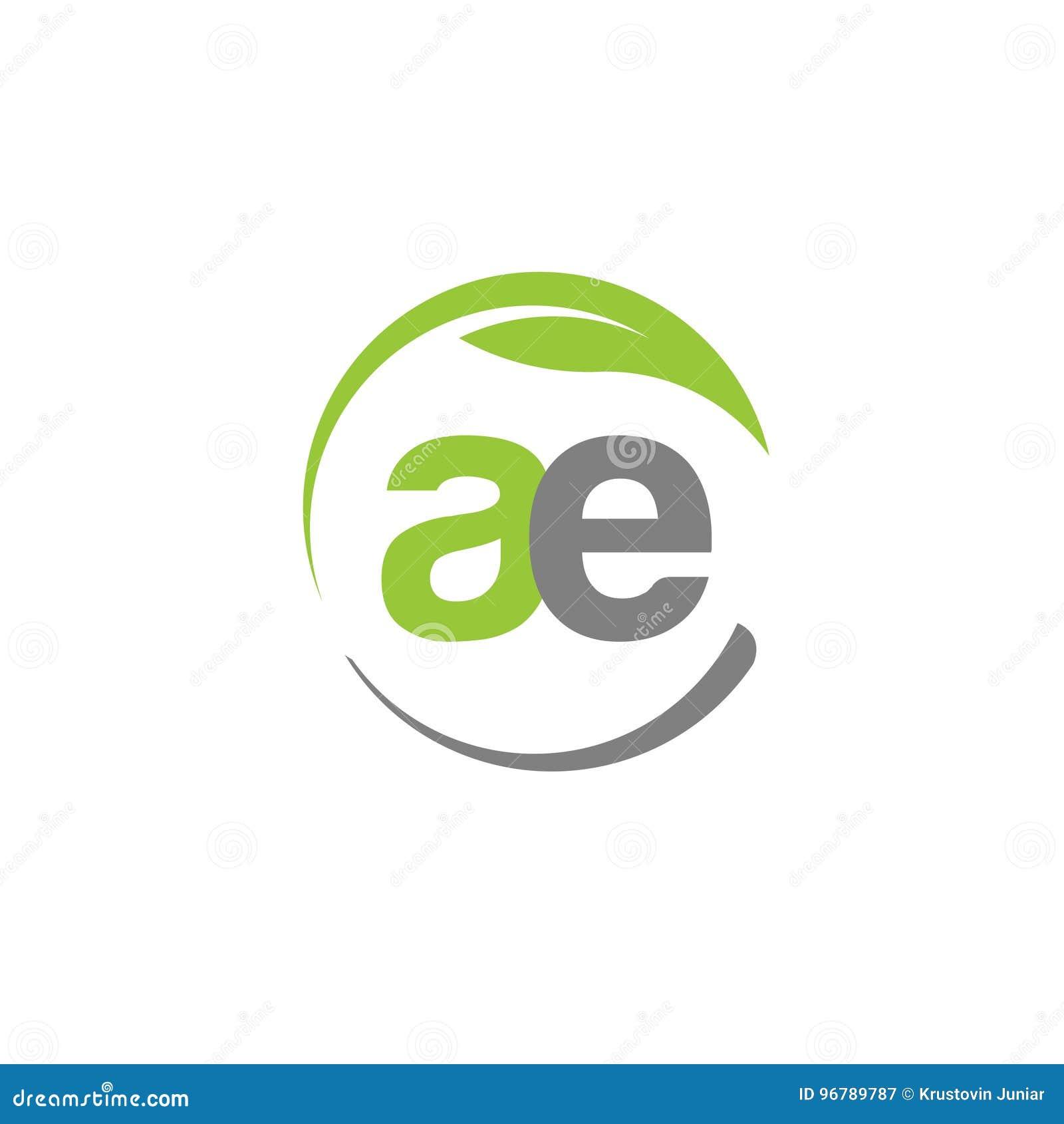 A letra criativa AE com círculo esverdeia o logotipo da folha