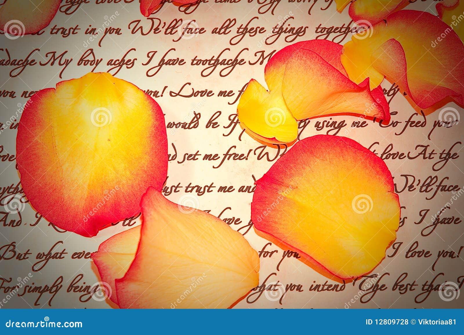 Letra de amor com as pétalas de Rosa com vinheta