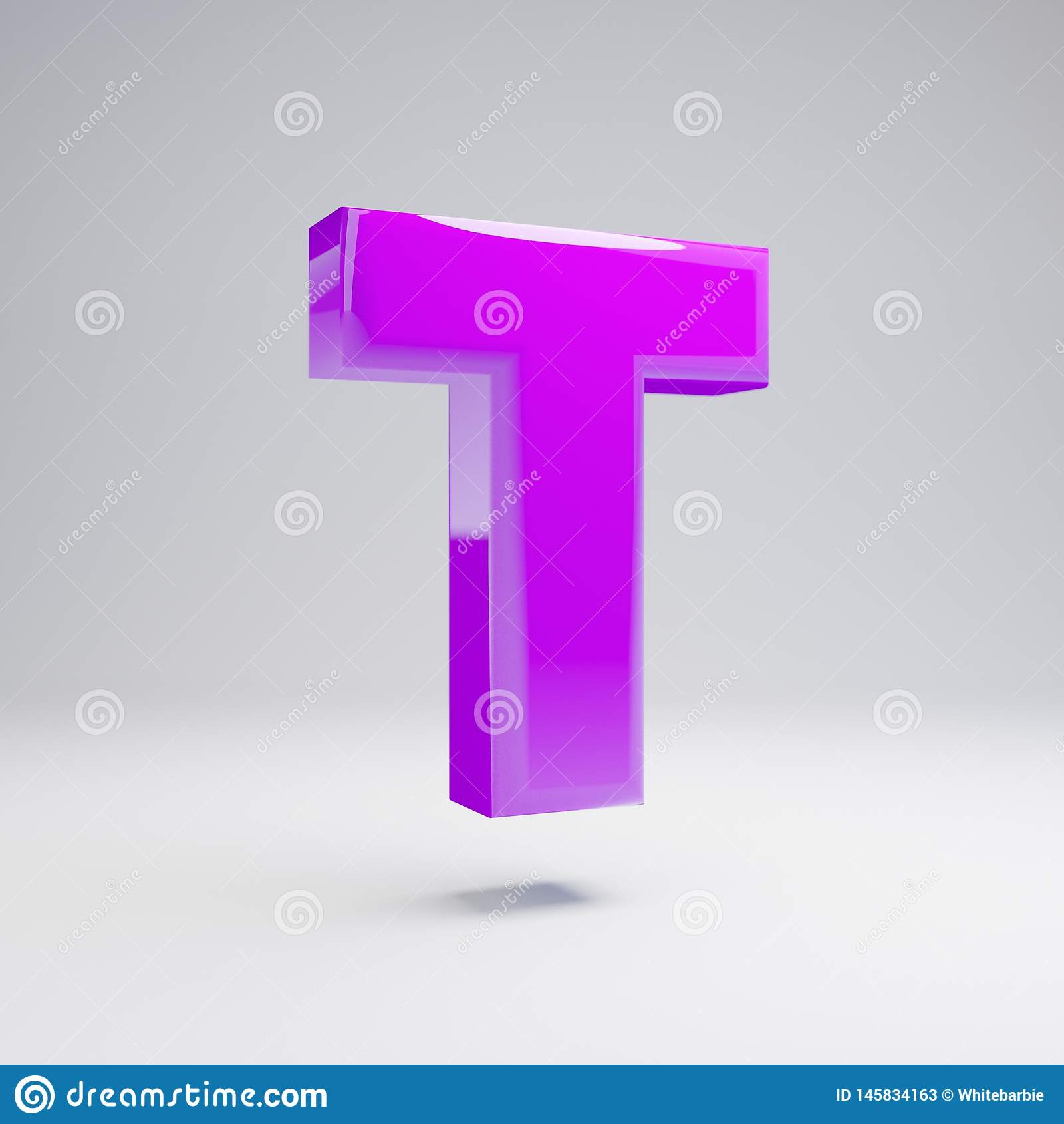 Letra de caixa lustrosa volumétrico T da violeta isolada no fundo branco