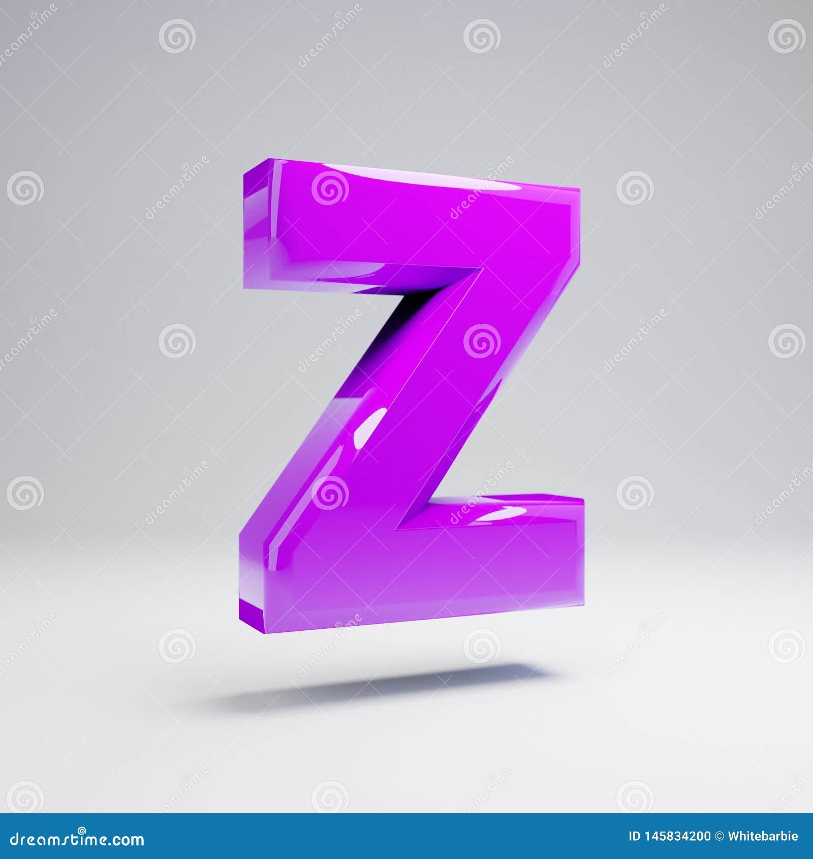 Letra de caixa lustrosa volumétrico Z da violeta isolada no fundo branco