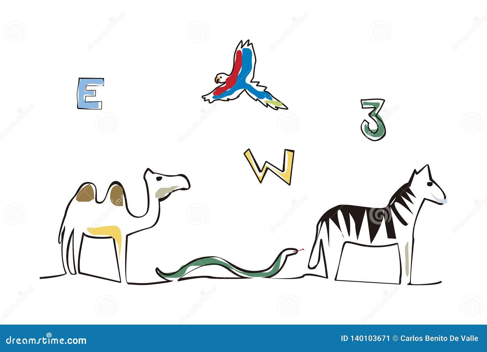 Letra de los números y ejemplo de los animales