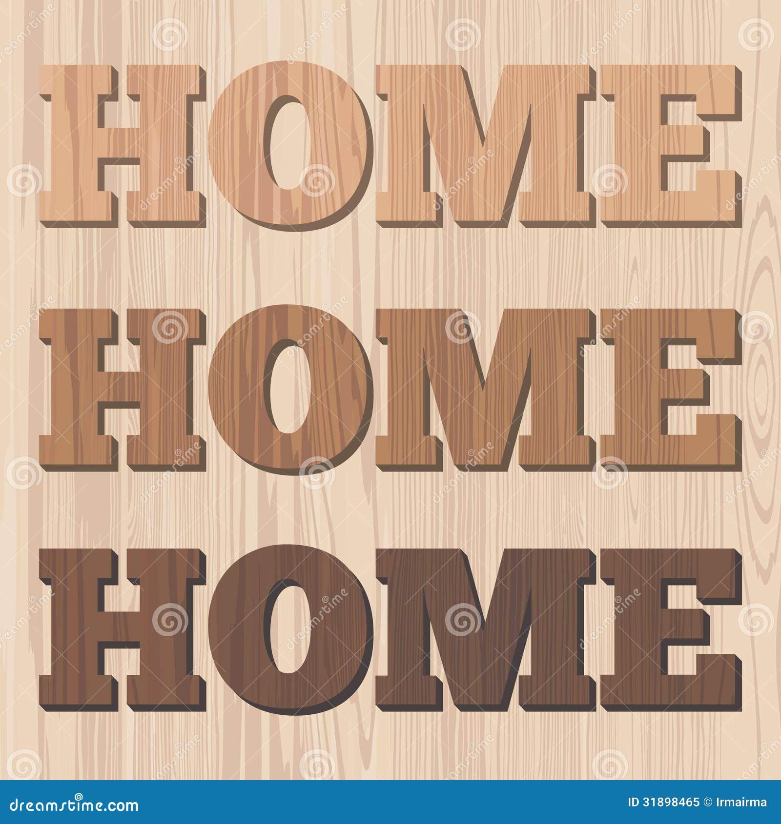 Letra de madera del hogar 3d foto de archivo libre de - Letras home decoracion ...