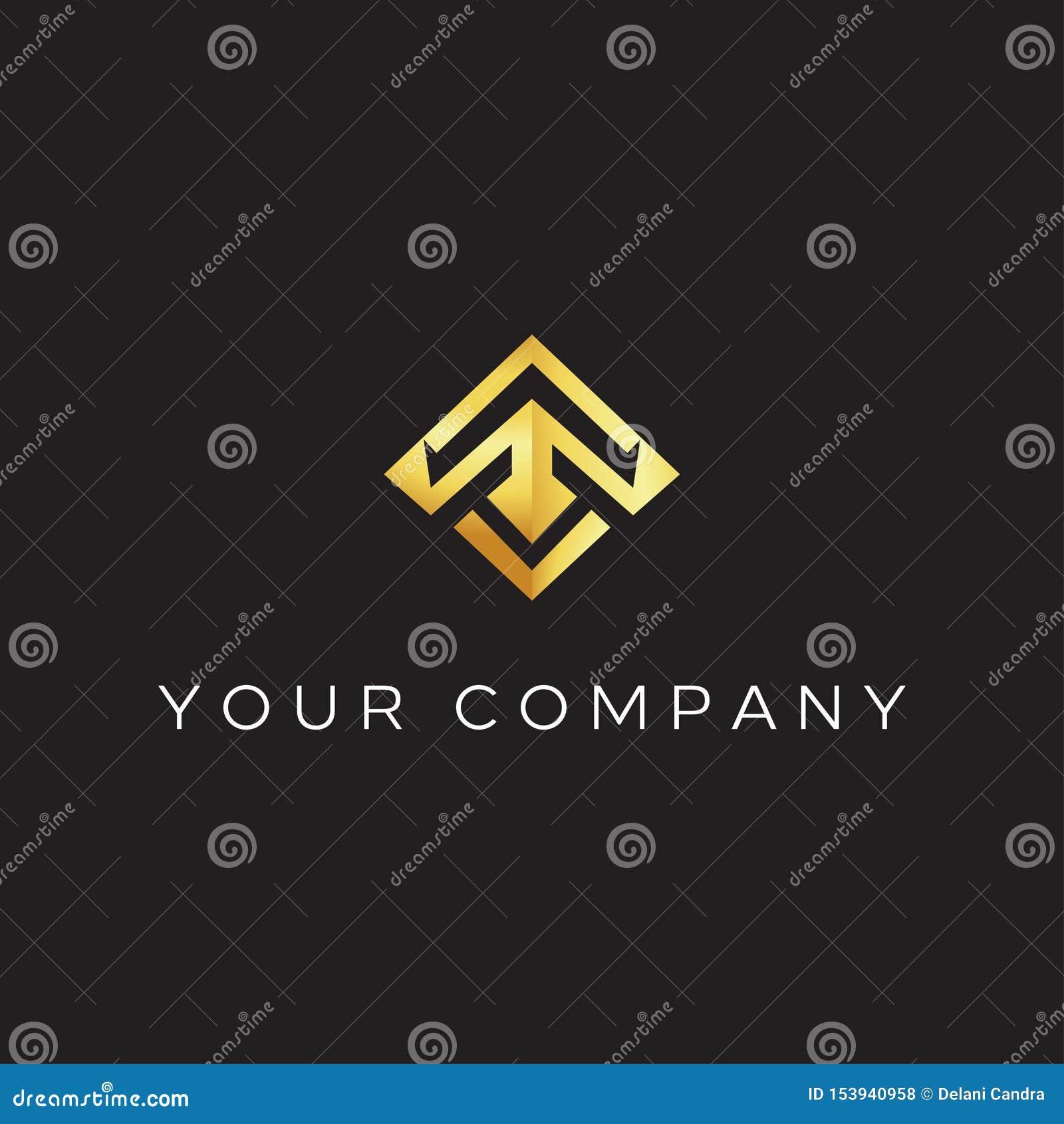 Letra de T con la inspiración moderna del ejemplo del icono del vector del diseño del logotipo del estilo T que forma el lanzamie