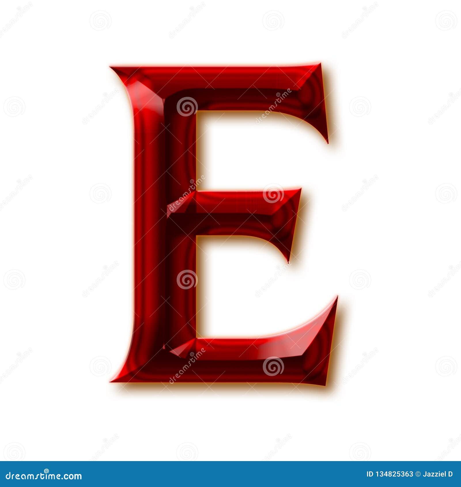 Letra E del alfabeto de rubíes tallado elegante