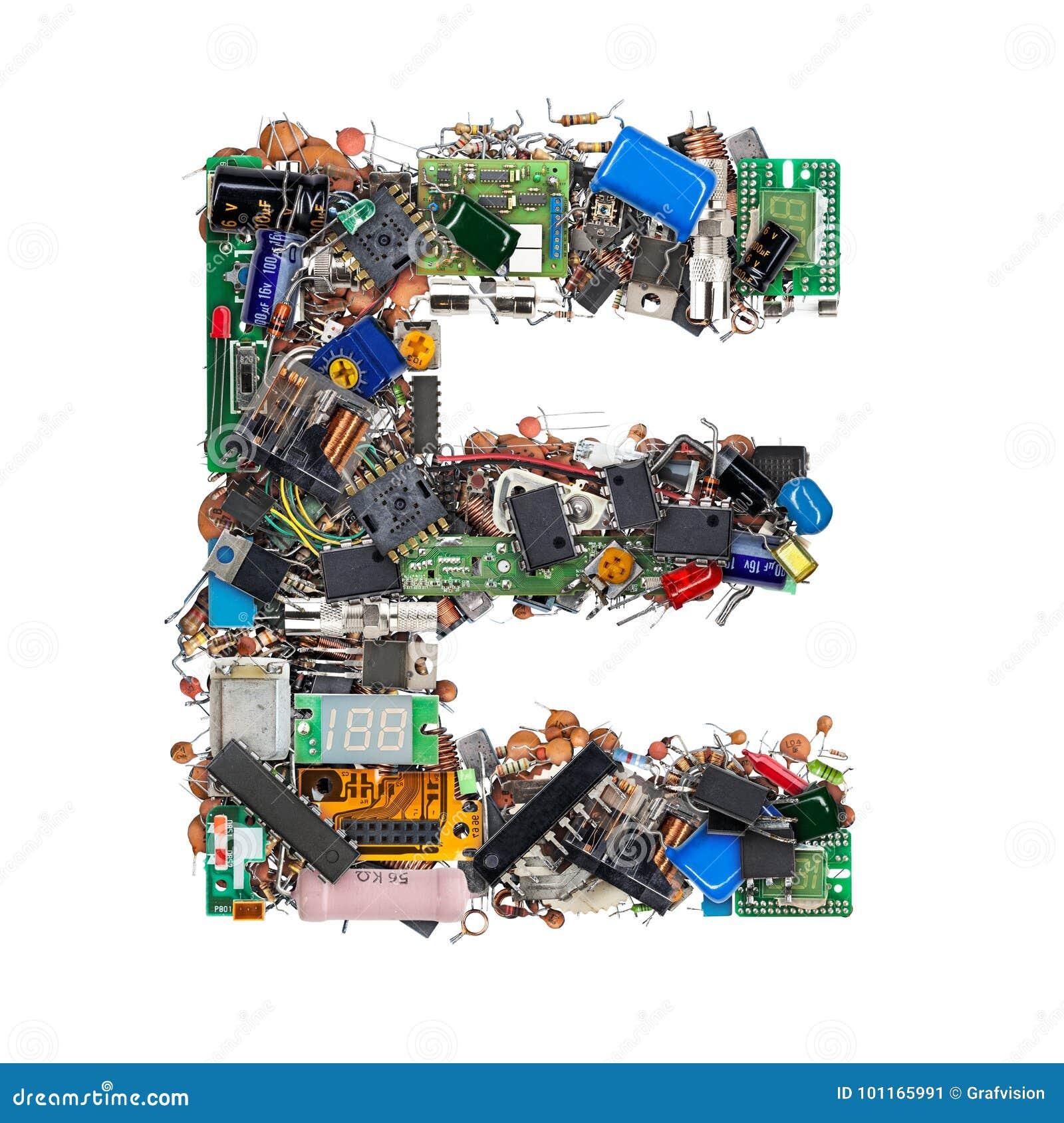 Letra E feita de componentes eletrônicos