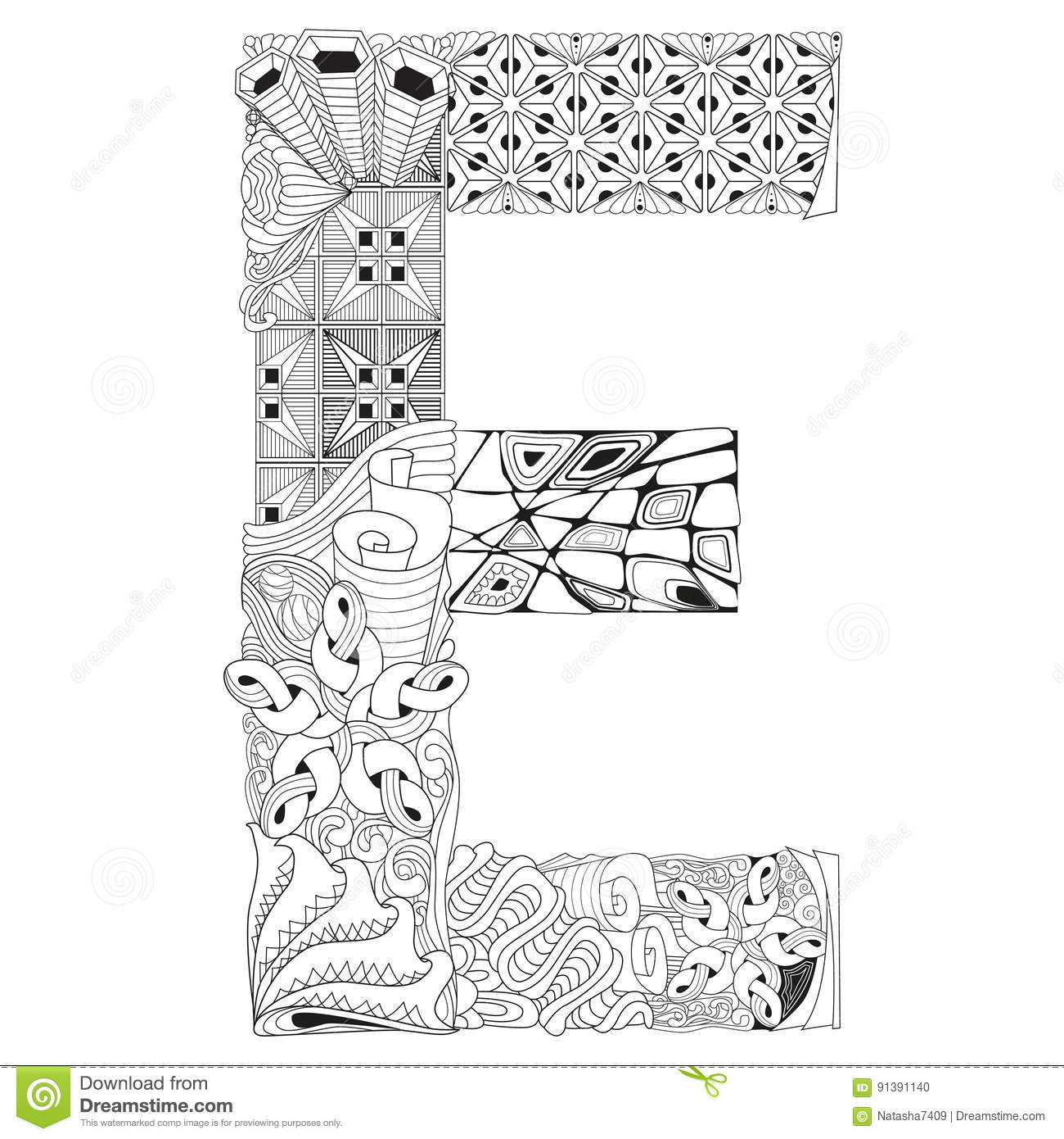 Letra E Para Colorear Objeto Decorativo Del Zentangle Del