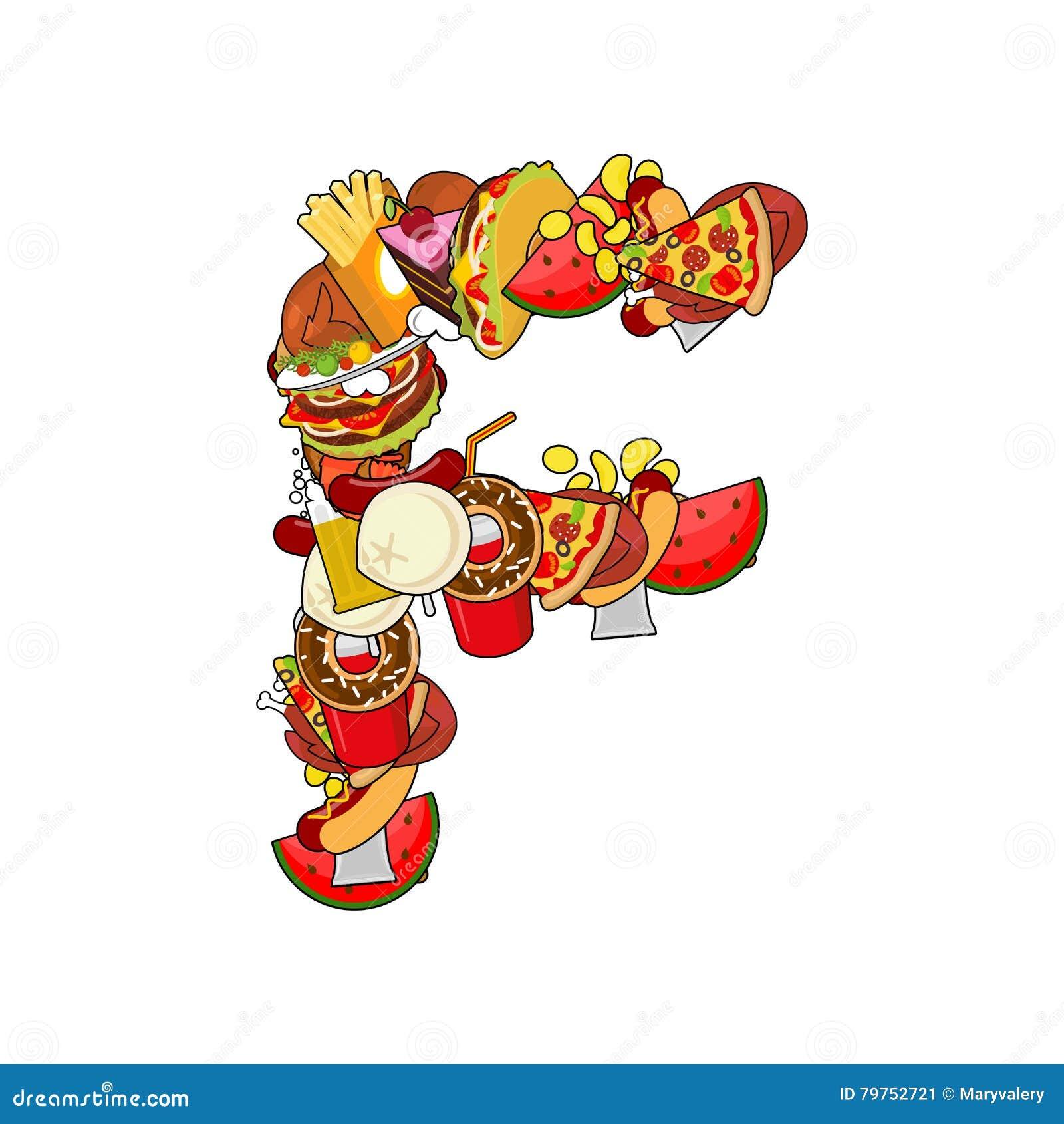 ccc3d696834f2 Letra F comestible Muestra del alfabeto de la comida EL de la plantilla del  concepto de