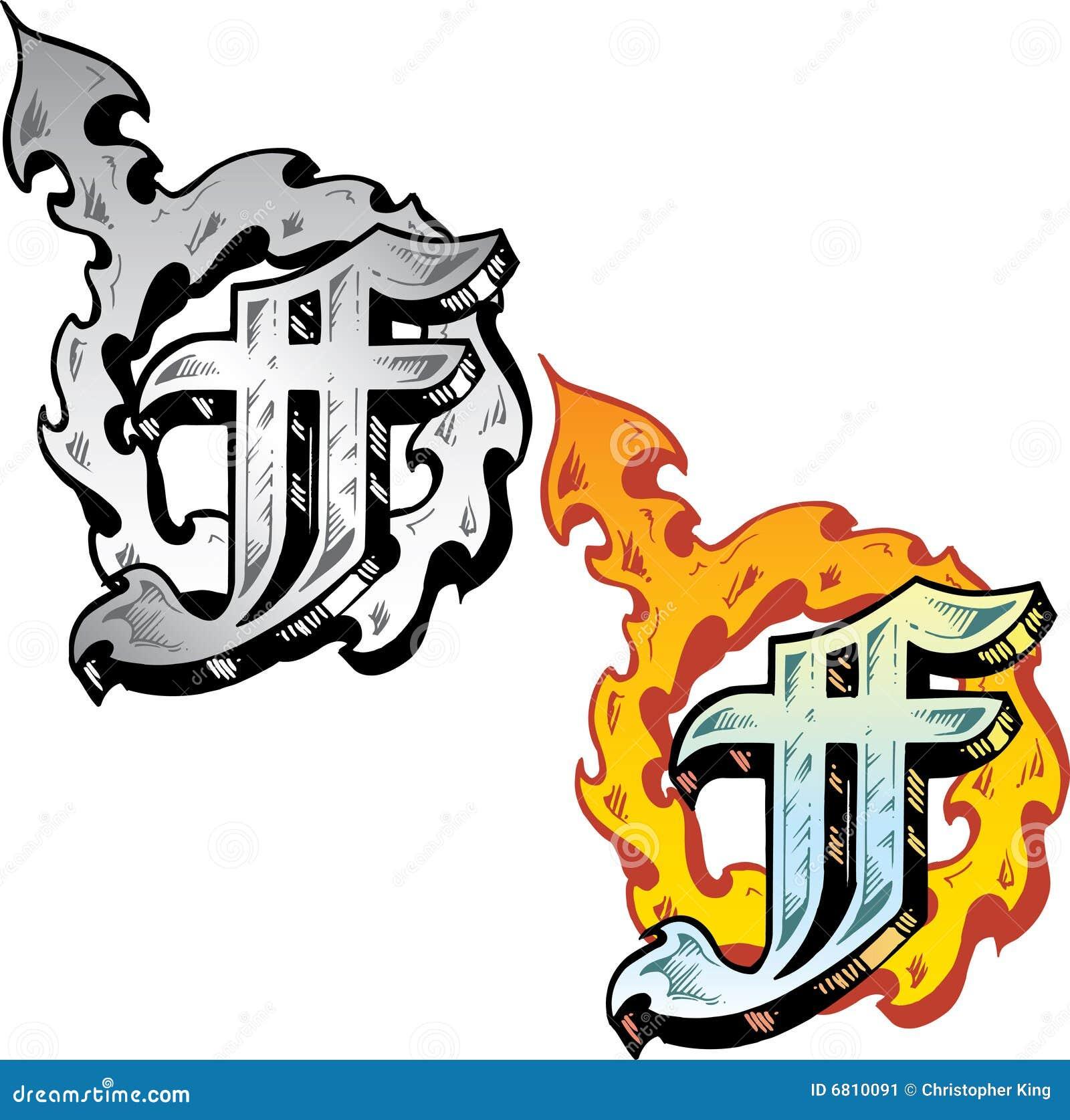letra f do estilo do tatuagem ilustra231227o do vetor imagem
