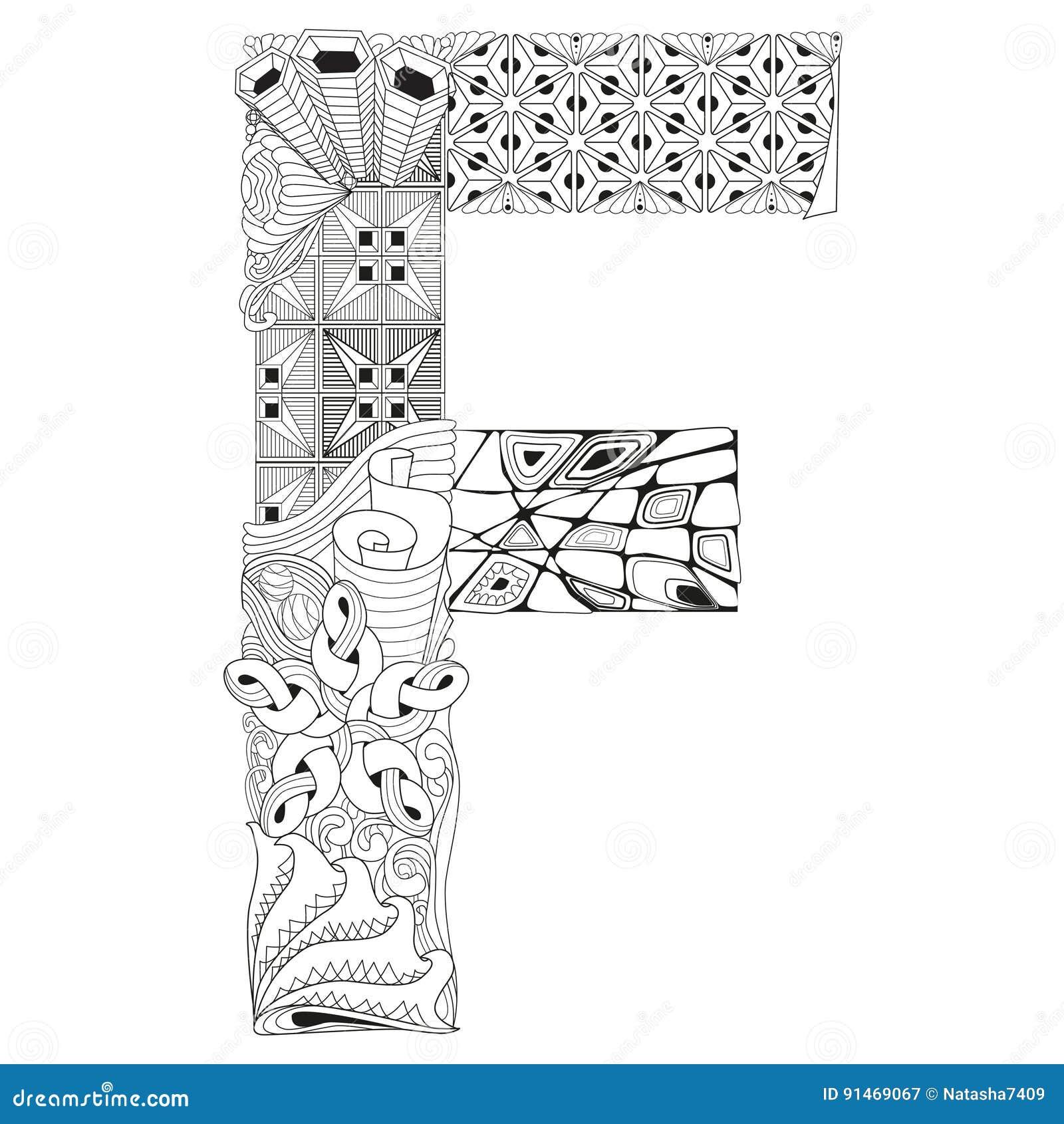 Letra F Para Colorear Objeto Decorativo Del Zentangle Del Vector ...