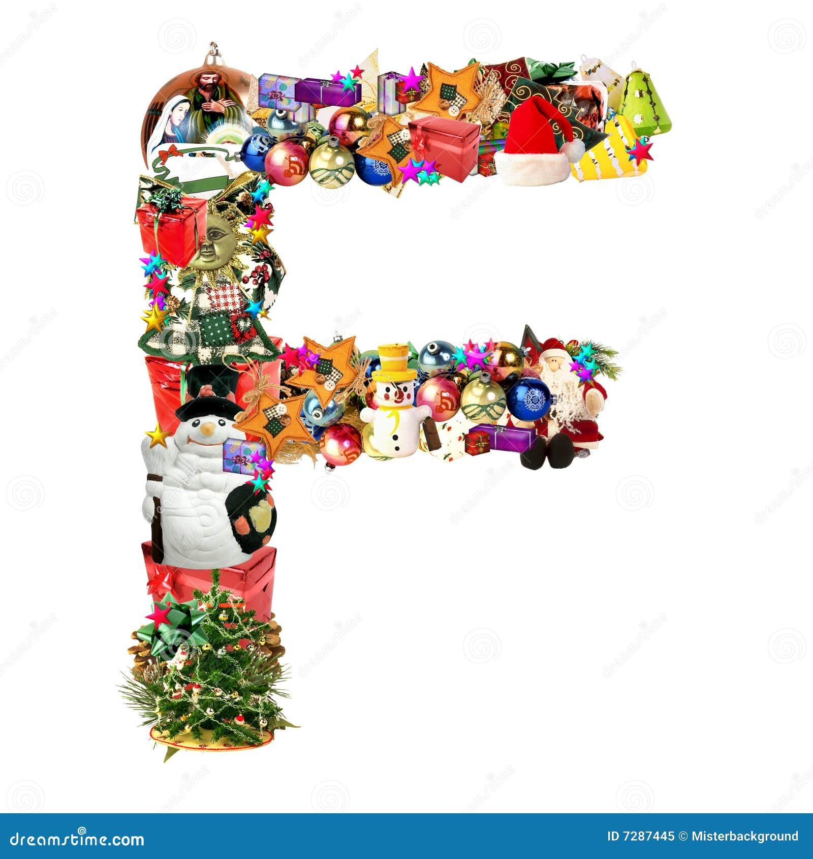 Letra F, para la decoración de la Navidad