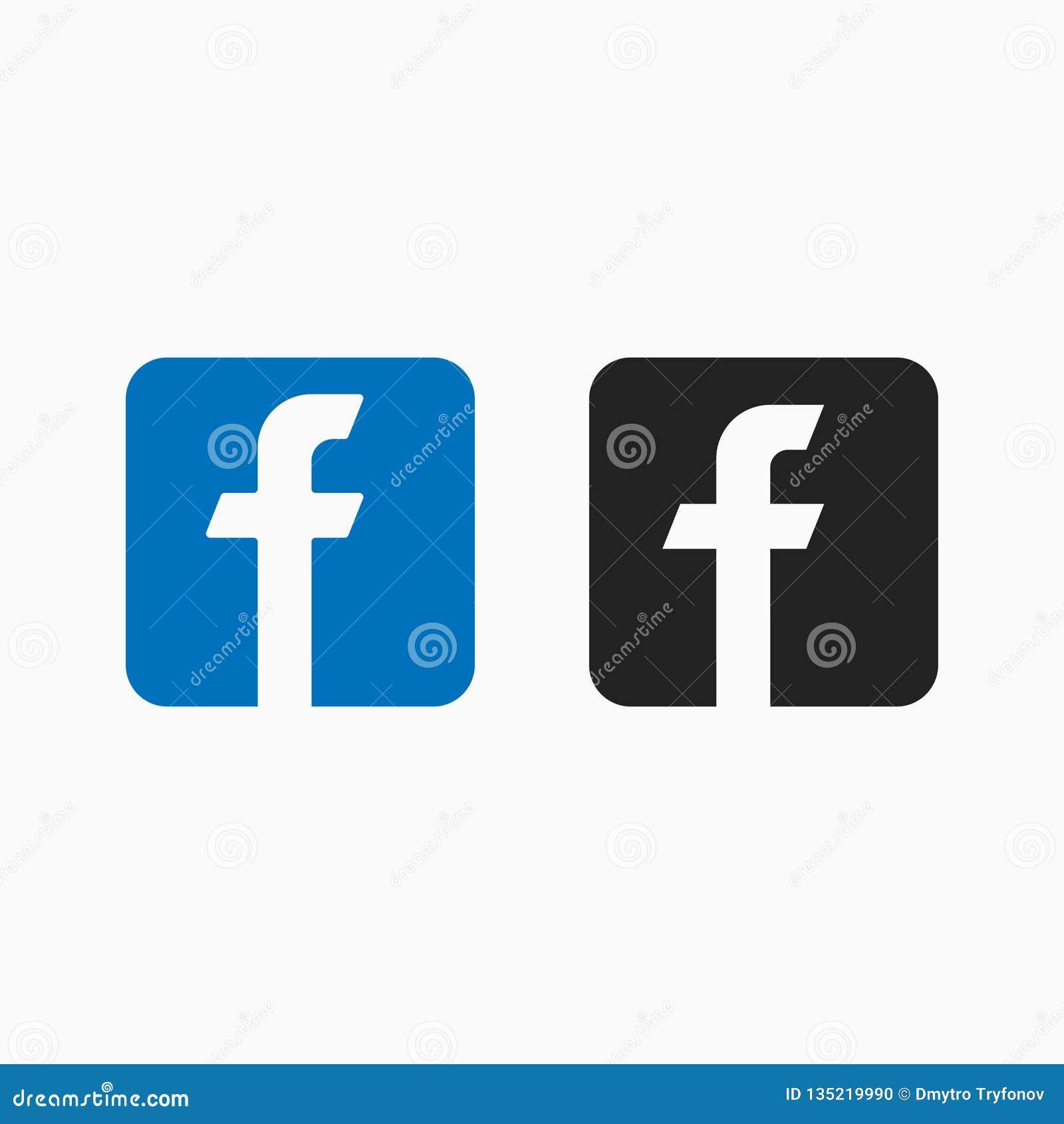 Letra f, red popular, icono del vector en estilo del facebook