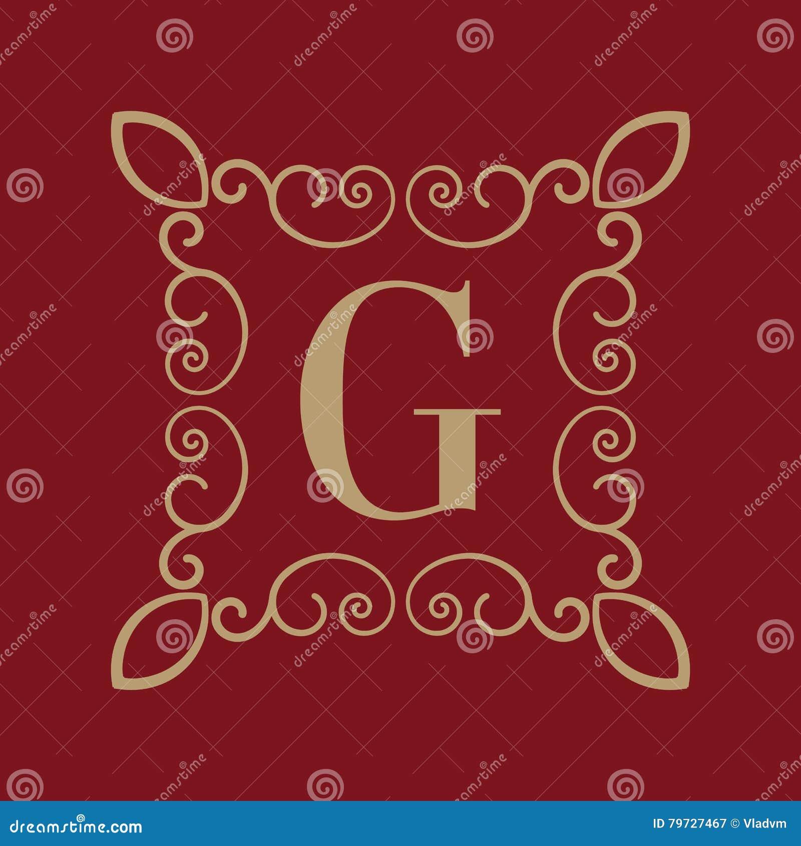Letra G del monograma Ornamento caligráfico oro Conceptos retros, del negocio y del vintage Ilustración del vector