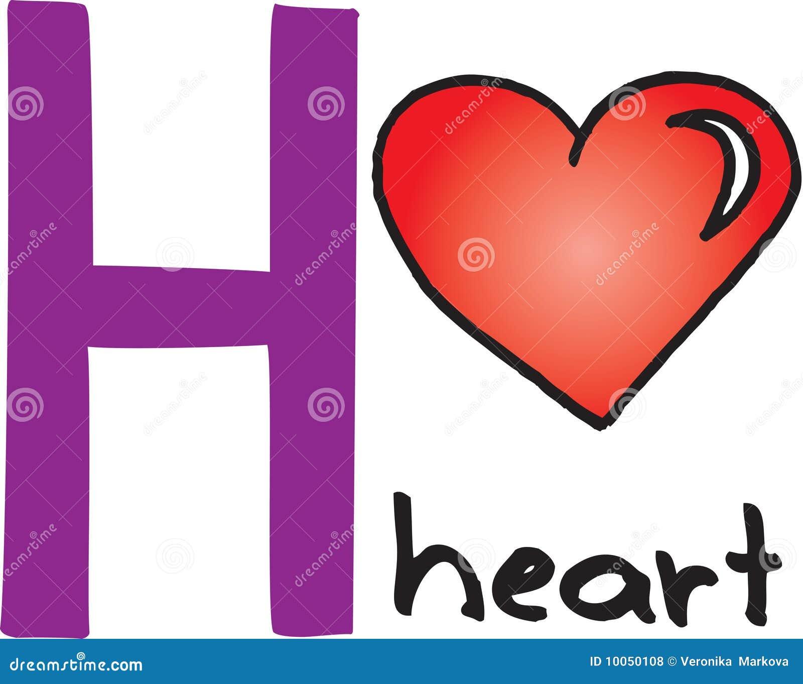 Letra H - coração