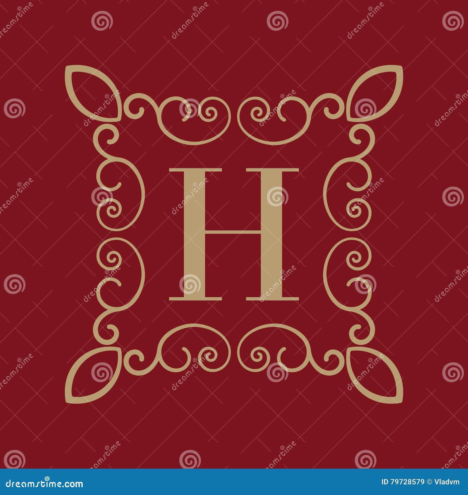 Letra H del monograma Ornamento caligráfico oro Conceptos retros, del negocio y del vintage Ilustración del vector