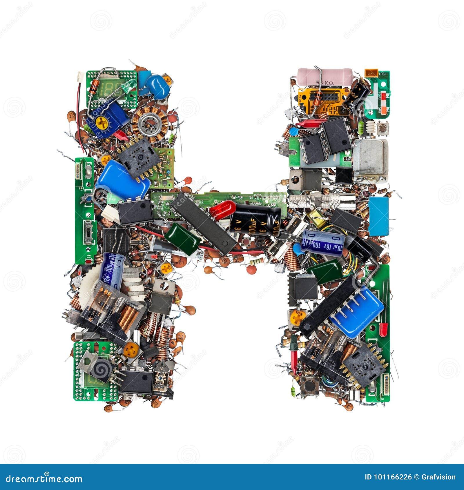 Letra H hecha de componentes electrónicos