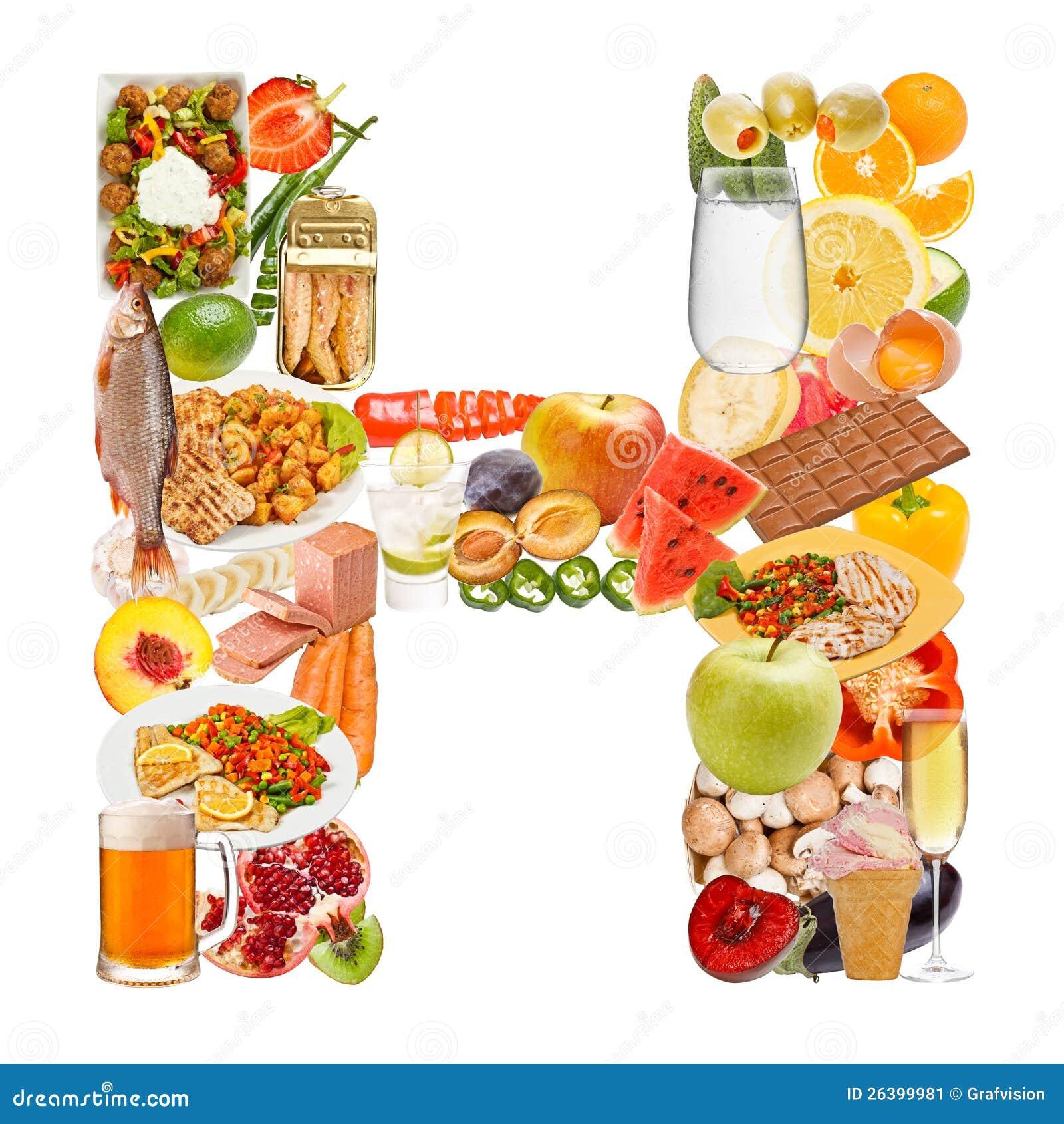 Letra H hecha de la comida