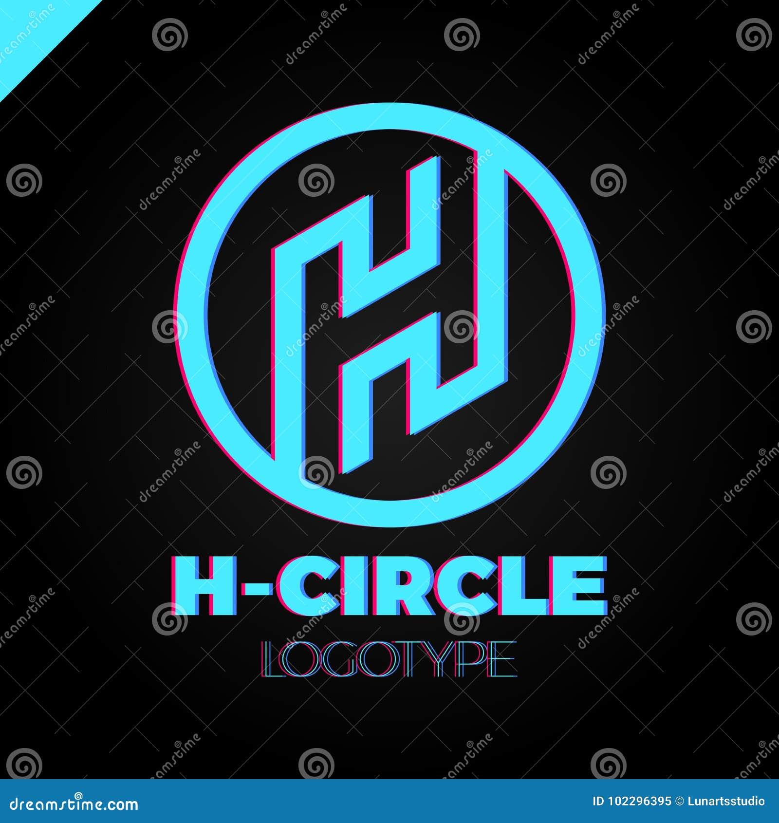 34e5b5af9 Letra H Logo With Circle Na Linha Molde Do Projeto Do Estilo ...
