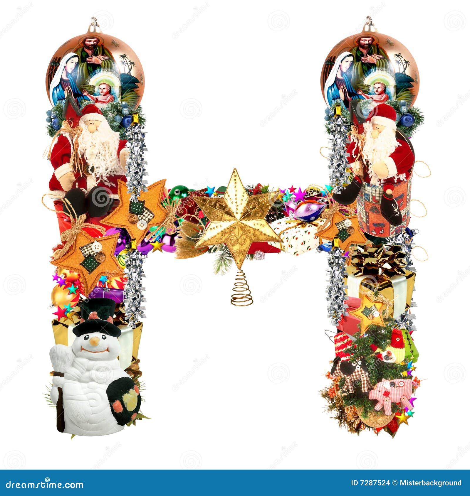 Letra H, para la decoración de la Navidad