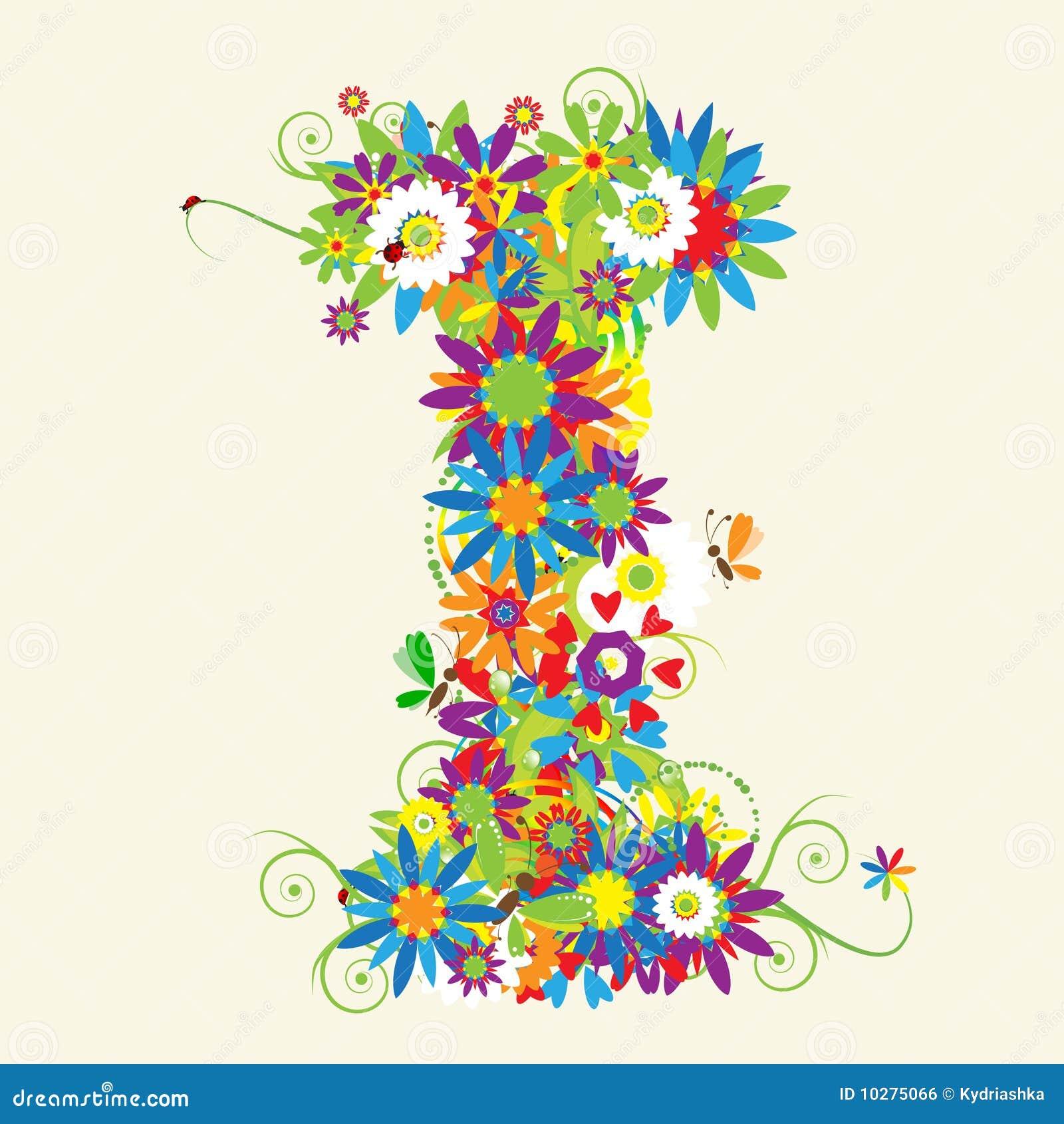 letra i dise o floral ilustraci n del vector ilustraci n