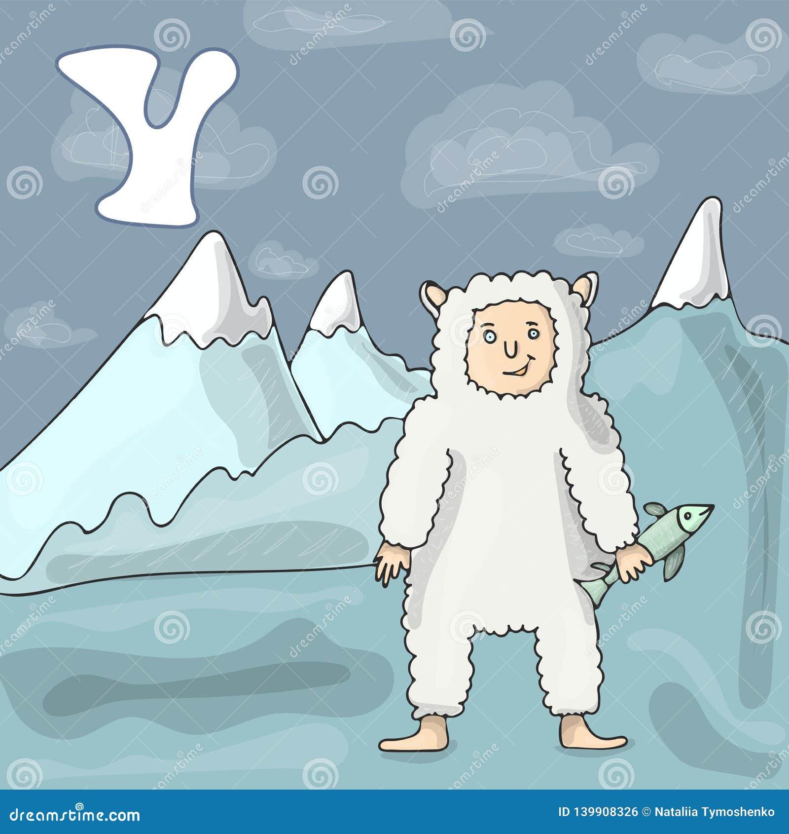 Letra ilustrada Y do alfabeto e abominável homem das neves Desenhos animados do vetor da imagem do livro de ABC Caráter do mamífe