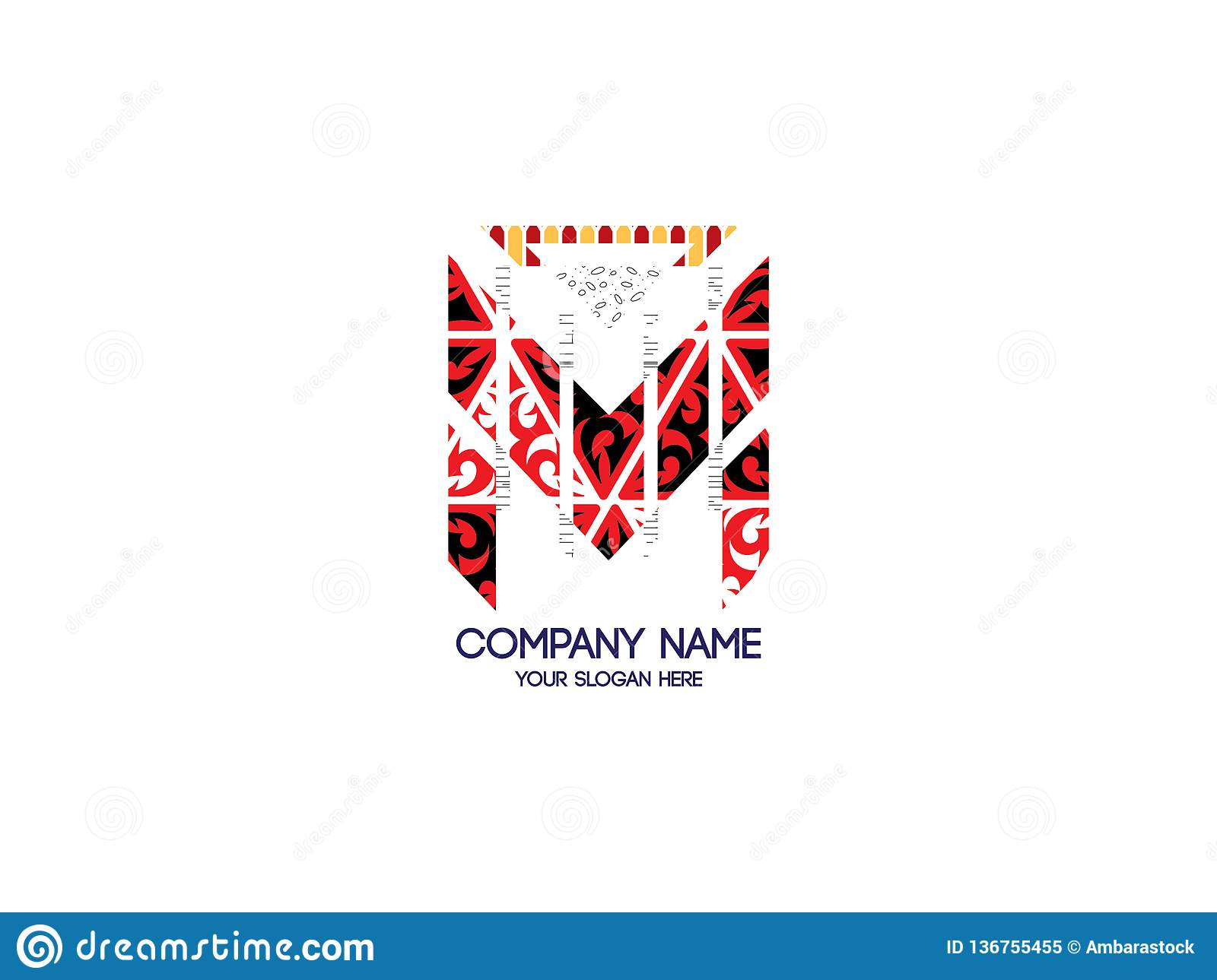 Letra inicial M Tribal Pattern Design Logo Graphic Branding Letter Element
