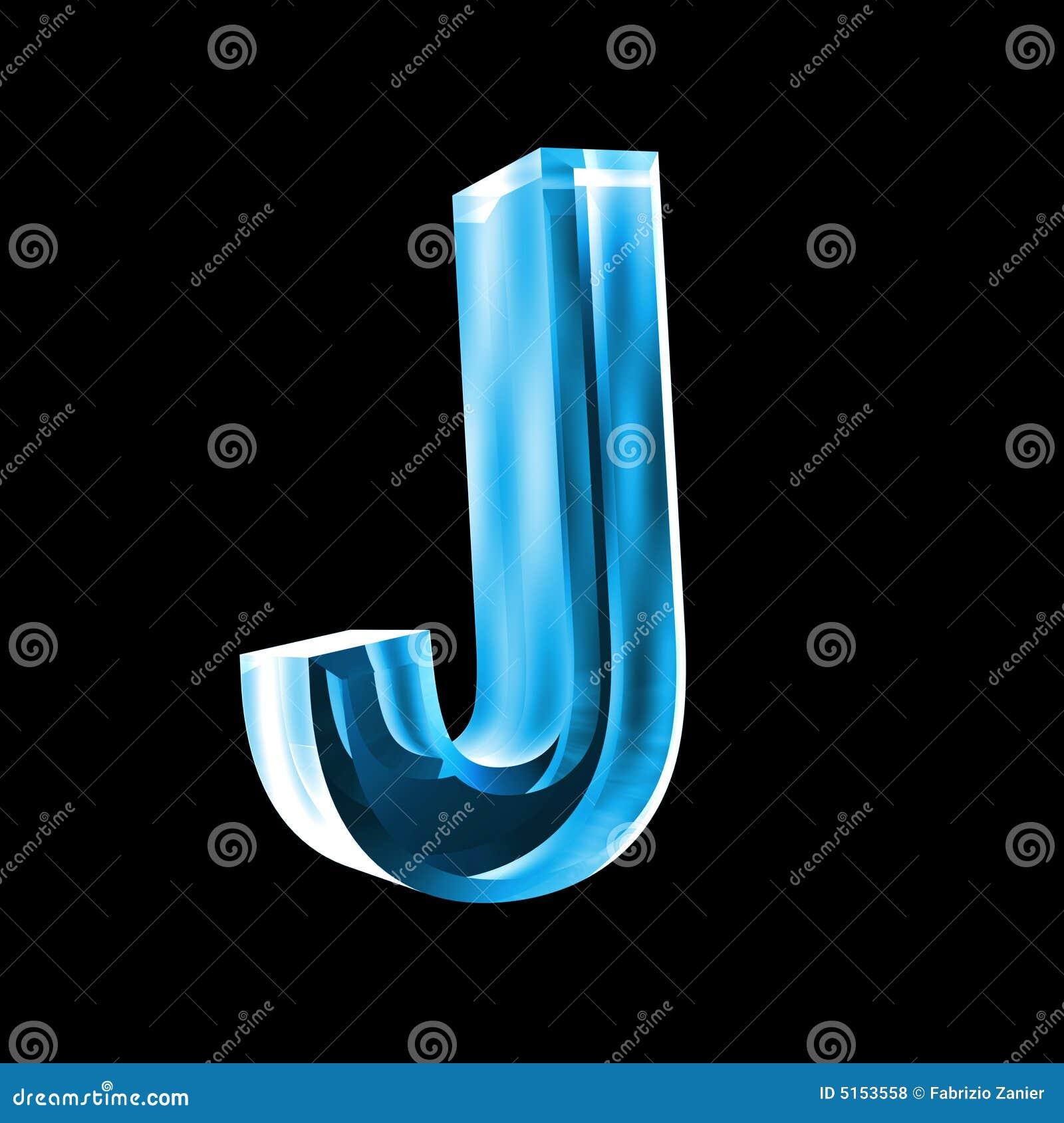 Letra J En El Vidrio Azul 3D Stock De Ilustración