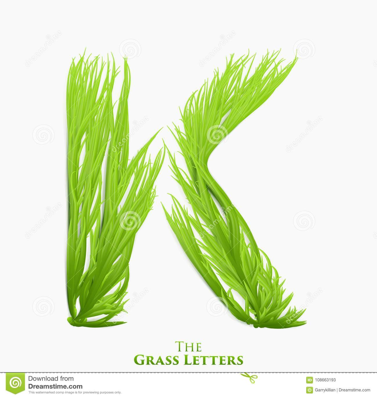 Letra K do vetor do alfabeto suculento da grama Símbolo verde de K que consiste crescendo a grama Alfabeto realístico de orgânico