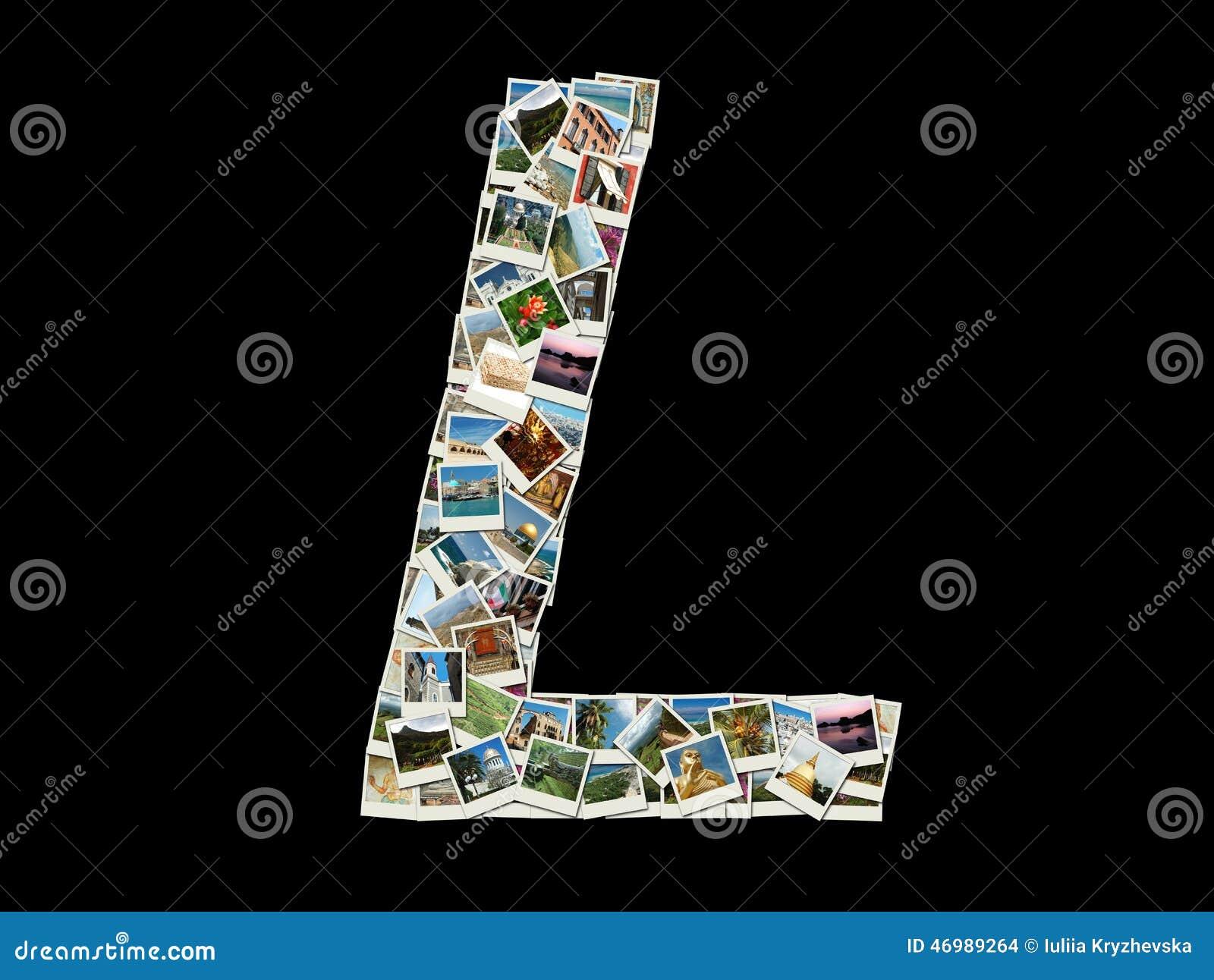 Letra L do alfabeto latino feita como a colagem de fotos do curso