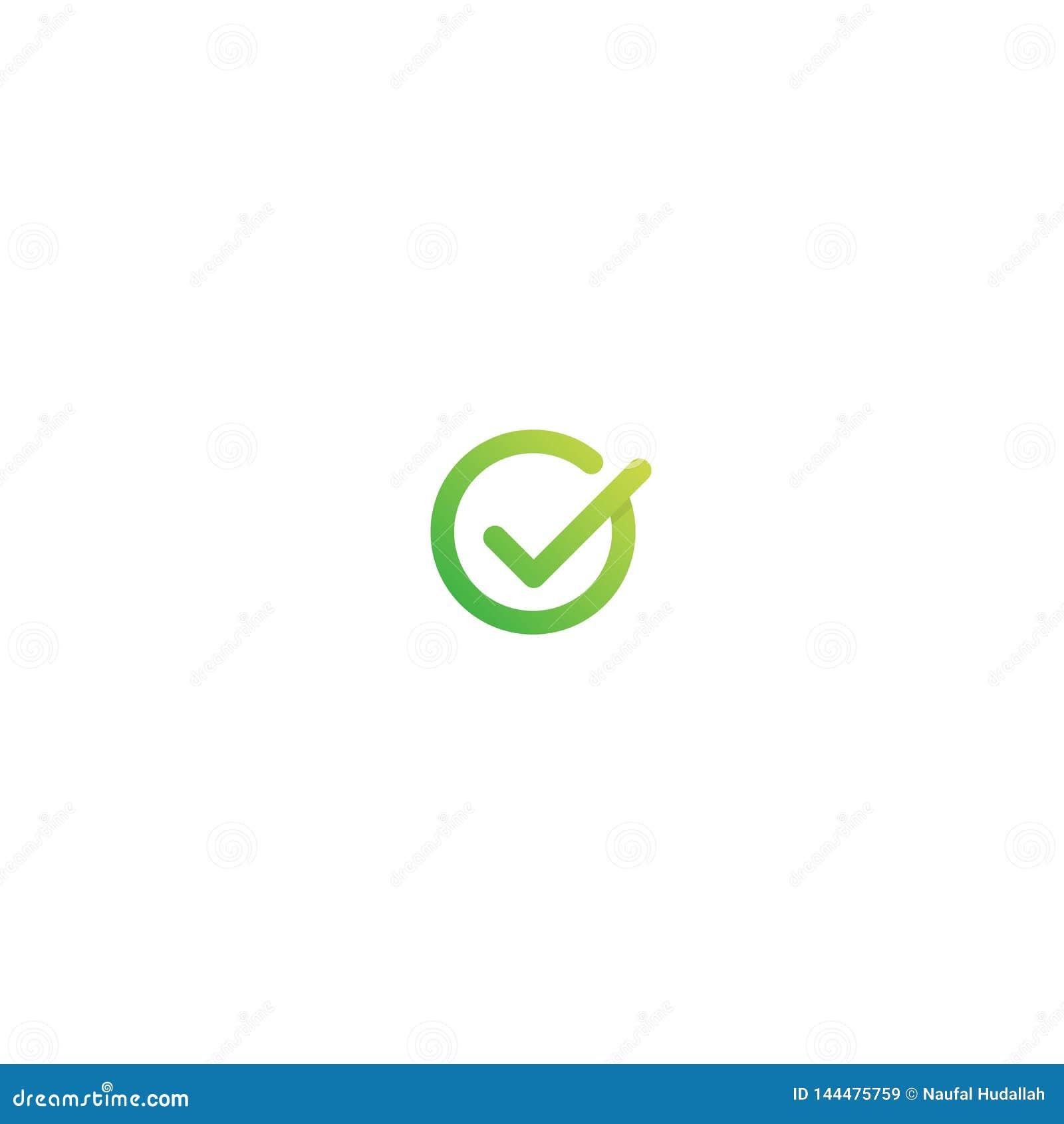 Letra Logo Design de G ejemplo aceptable del icono del vector del símbolo de la marca de verificación