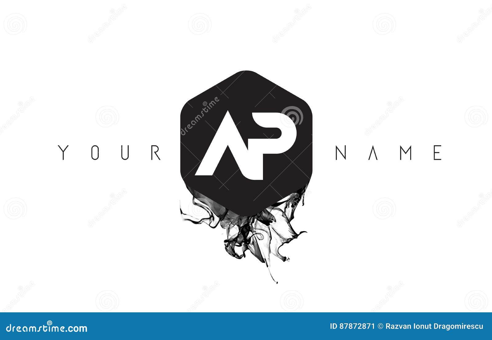 letra logo design del ap con derramamiento negro de la. Black Bedroom Furniture Sets. Home Design Ideas