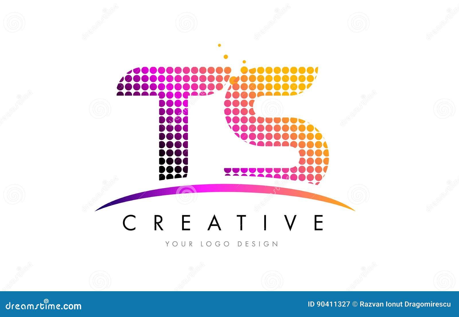 3e68cdae0 Letra Logo Design Dos TS T S Com Pontos Magentas E Swoosh Ilustração ...