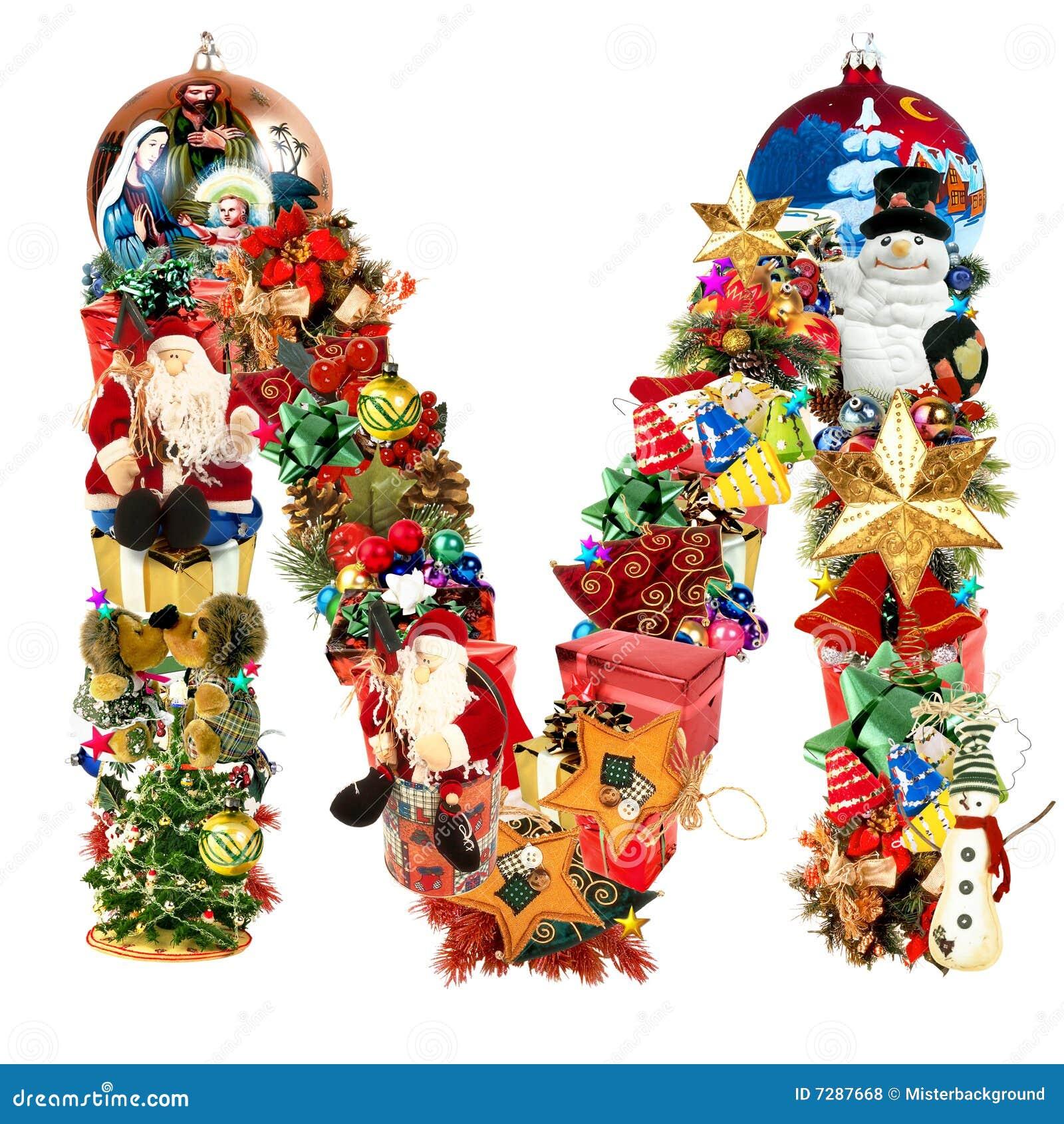 Letra M, para la decoración de la Navidad