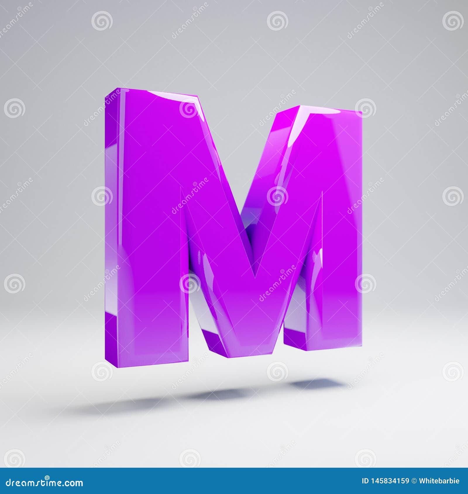 Letra mayúscula M de la violeta brillante volumétrica aislada en el fondo blanco