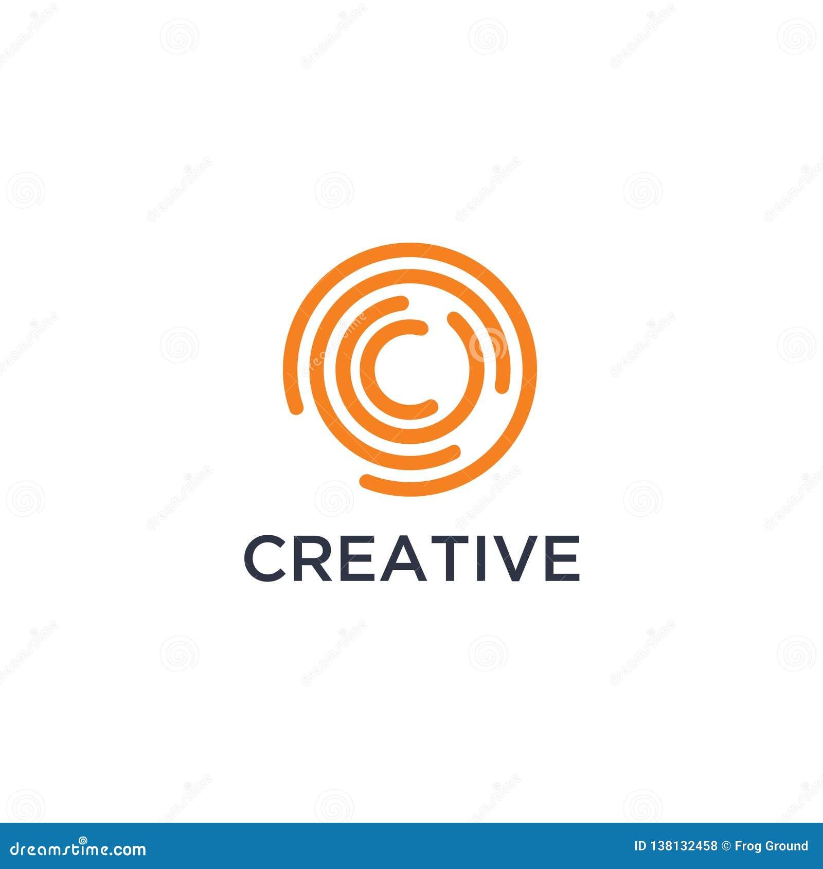 A letra minúscula inicial c, curva arredondou o logotipo, cores lustrosas coloridas vibrantes do inclinação no fundo branco