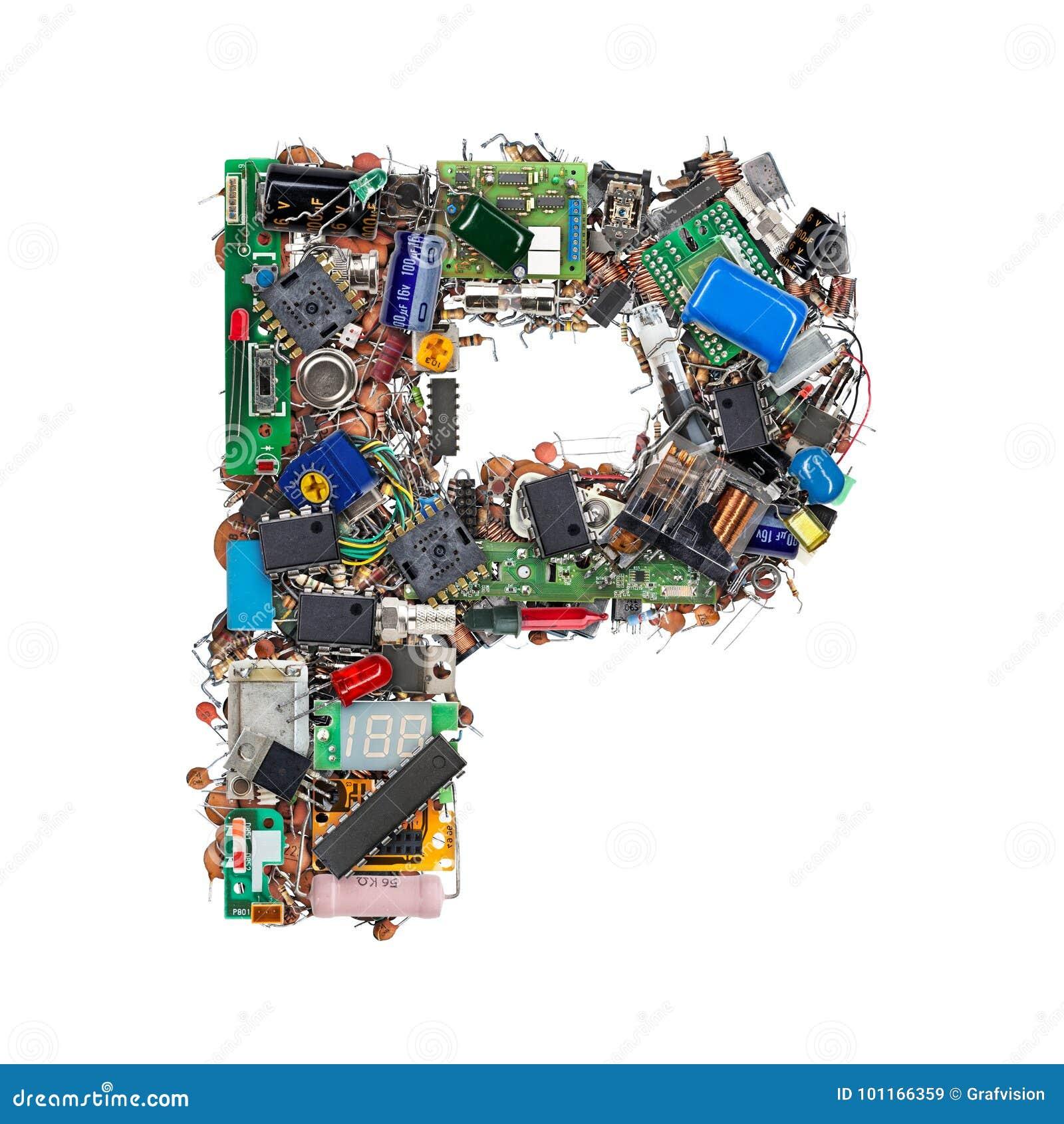 Letra P feita de componentes eletrônicos