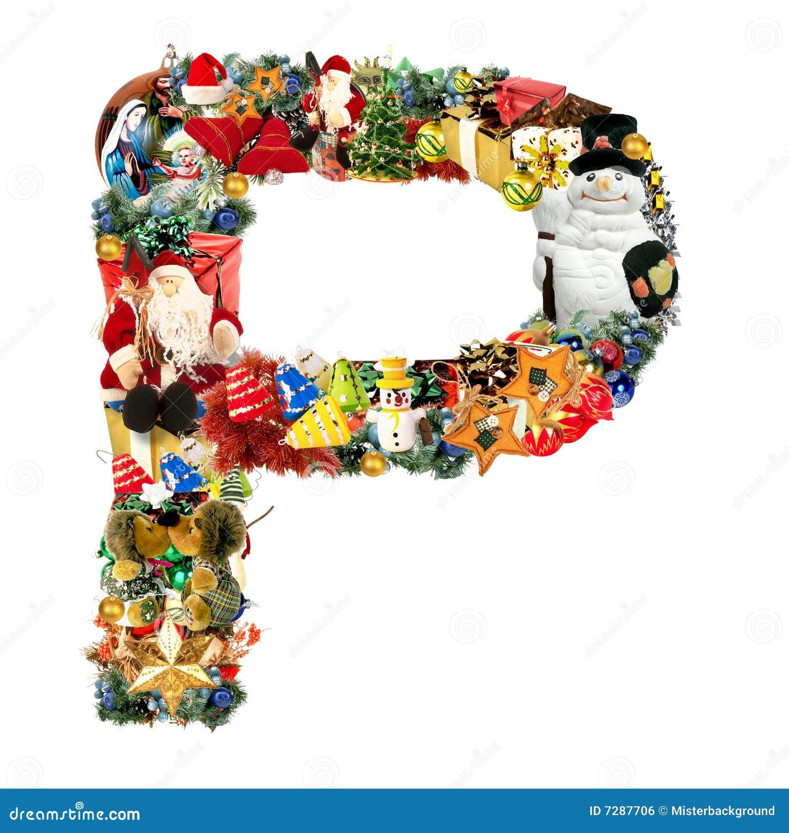 Letra P, para la decoración de la Navidad