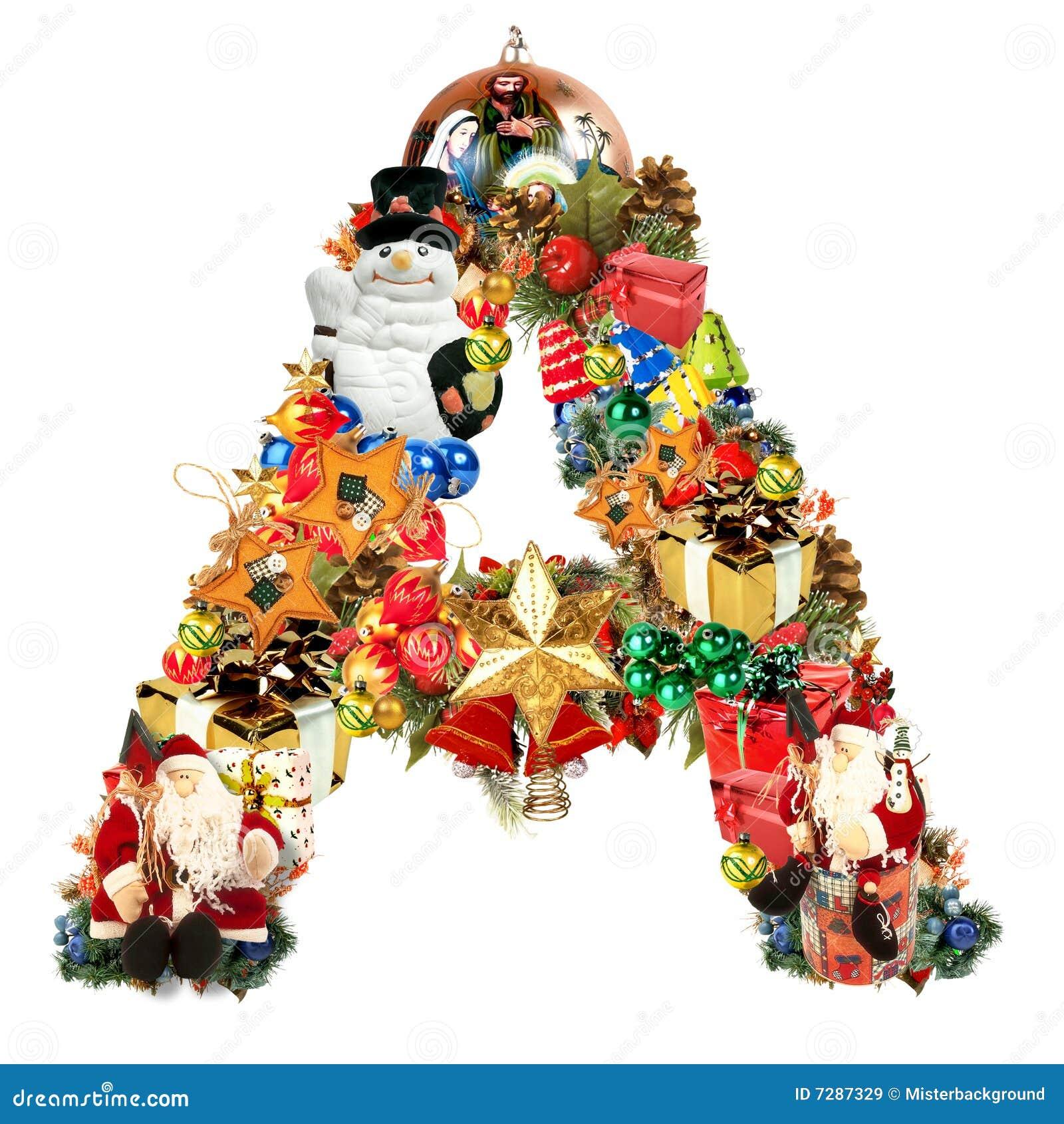Letra A, para la decoración de la Navidad