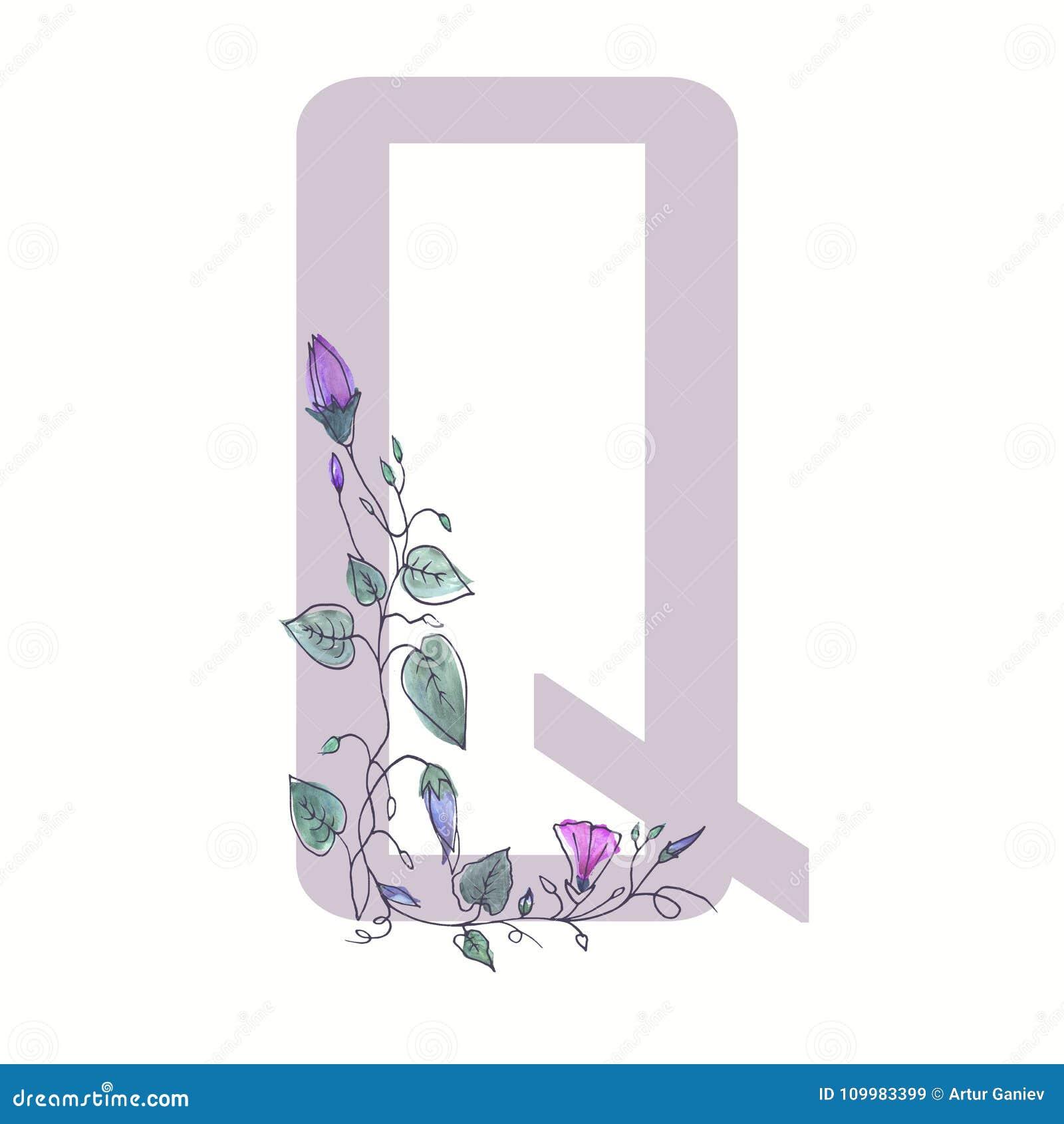 A letra principal do alfabeto é decorada com flo encaracolado
