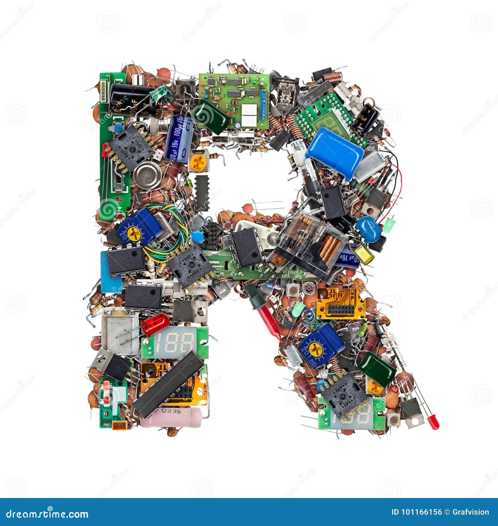 Letra R feita de componentes eletrônicos