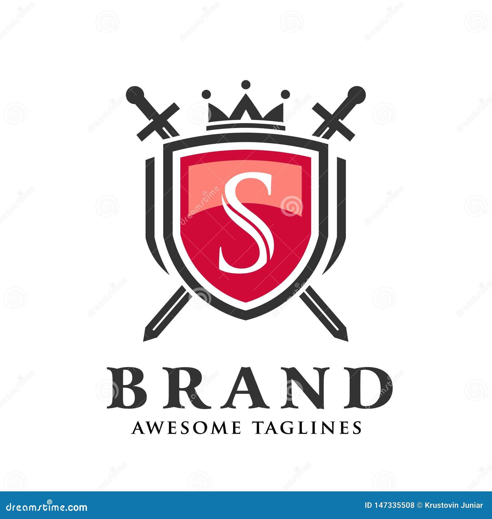 Letra S con dos espadas cruzadas, escudo con el logotipo de la corona