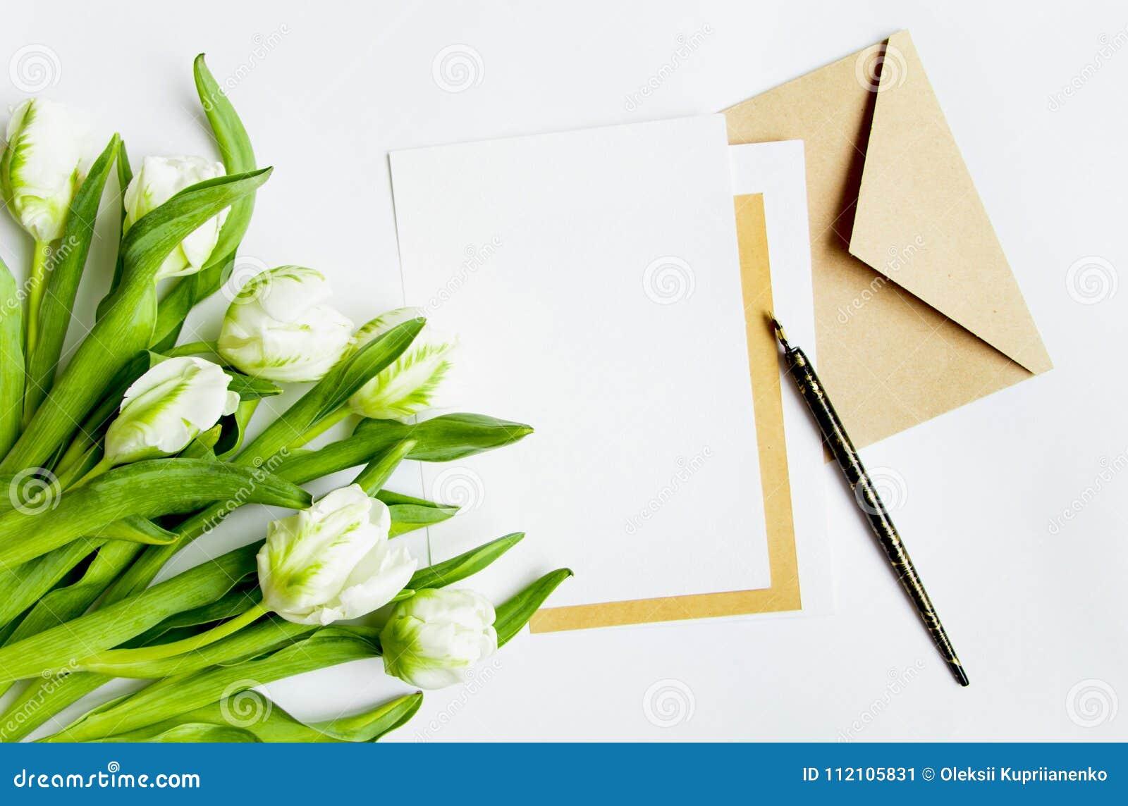 Letra Sobre Y Tulipanes En El Fondo Blanco Tarjeta De La