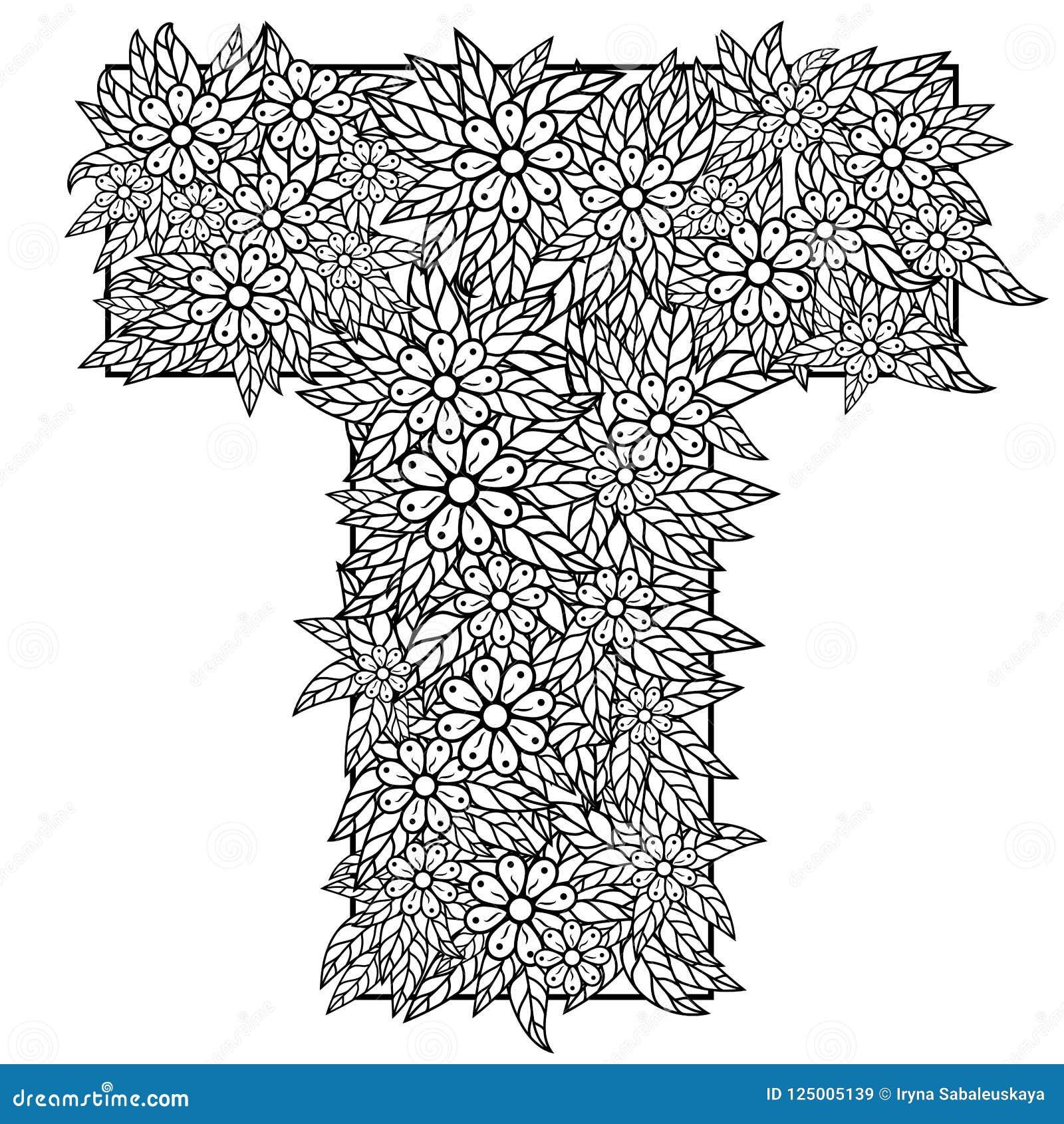 Letra T Dibujo De Dudling Mandala Alfabeto En El Estilo De Dudling