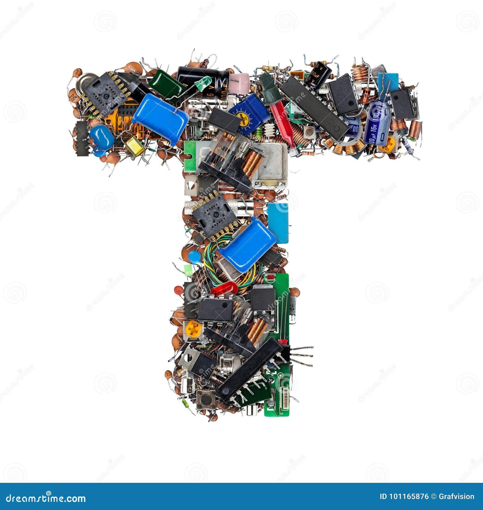 Letra T feita de componentes eletrônicos