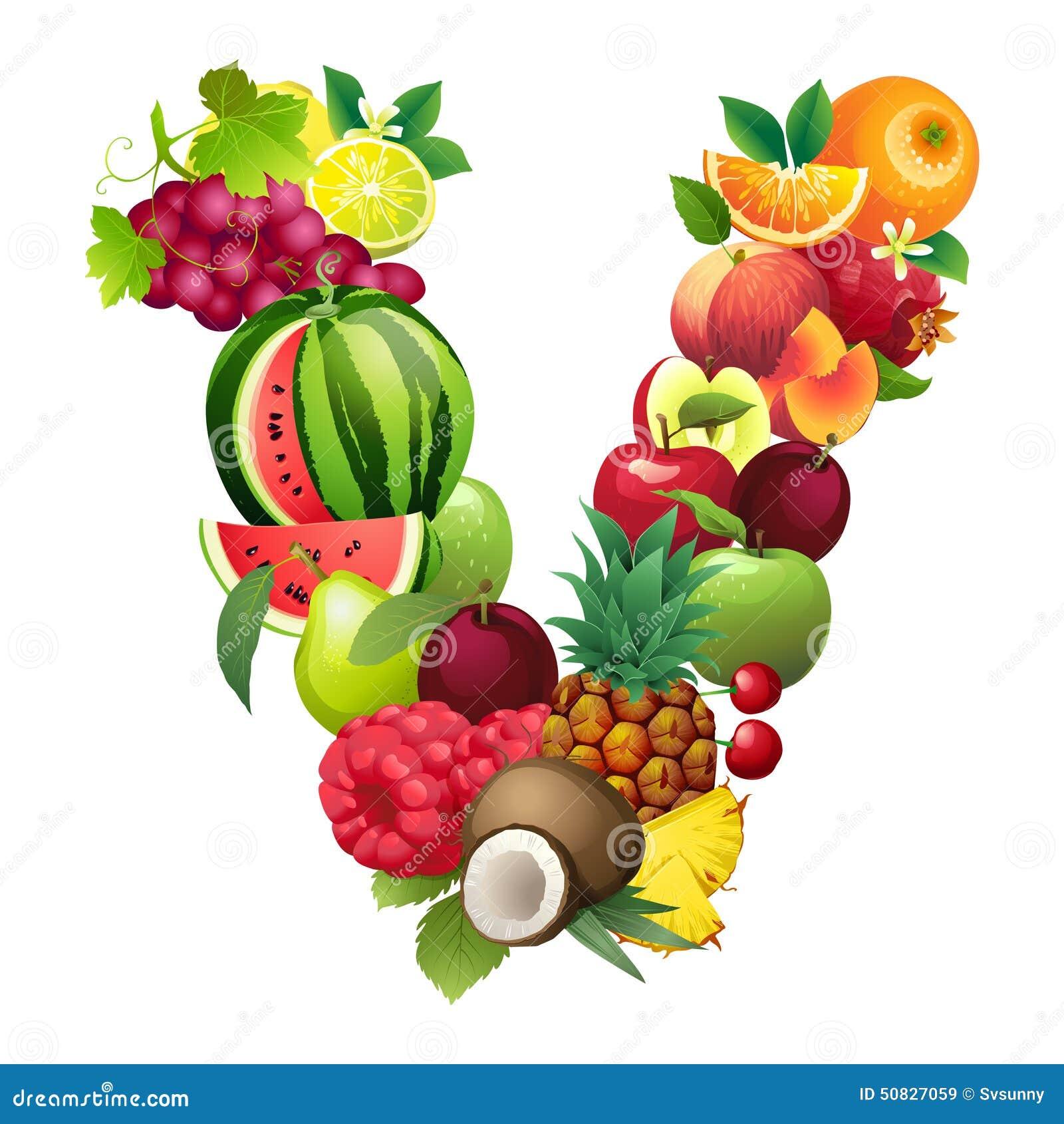 Letra V integrado por diversas frutas con las hojas