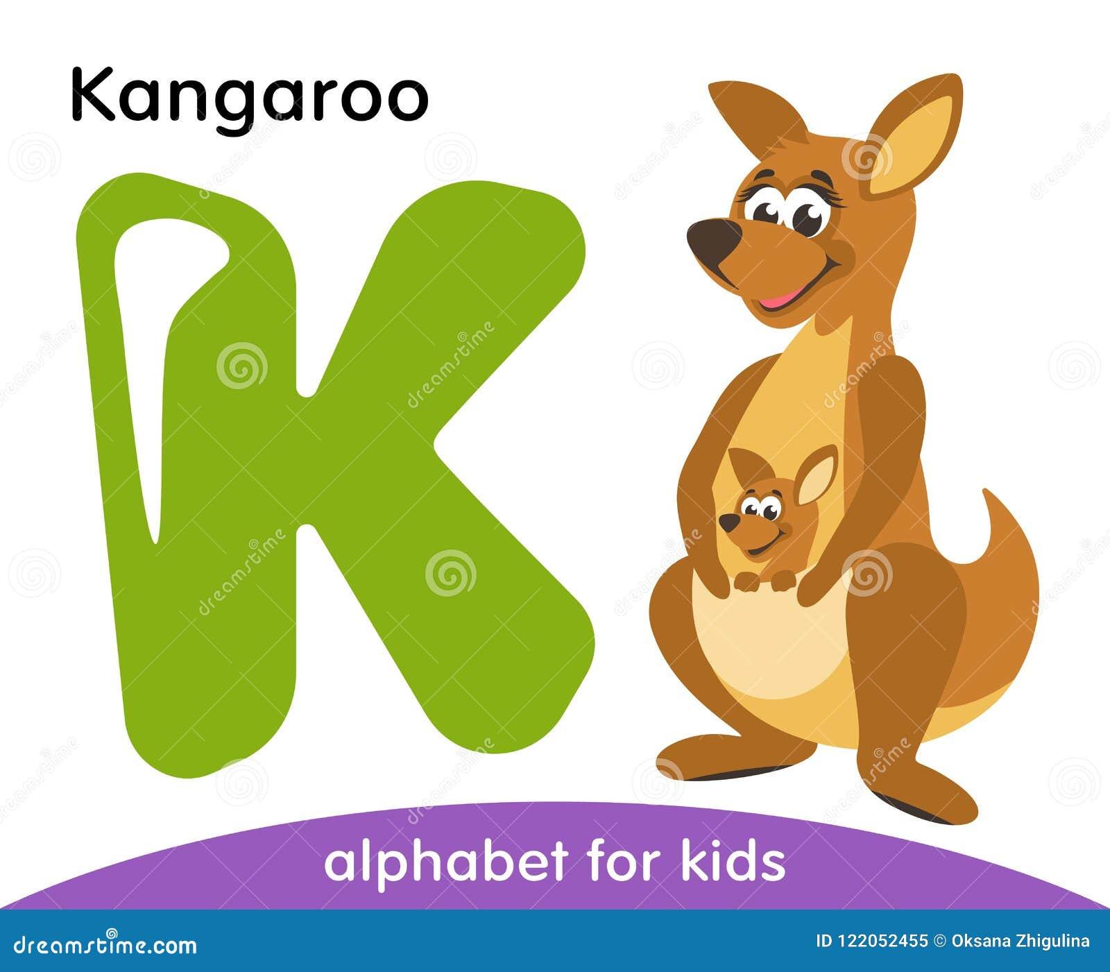 Letra verde K e canguru bonito marrom