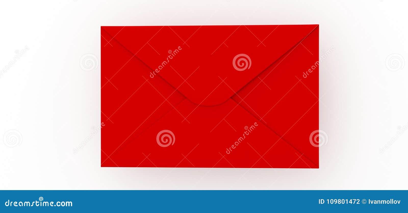 Letra vermelha do correio no fundo branco
