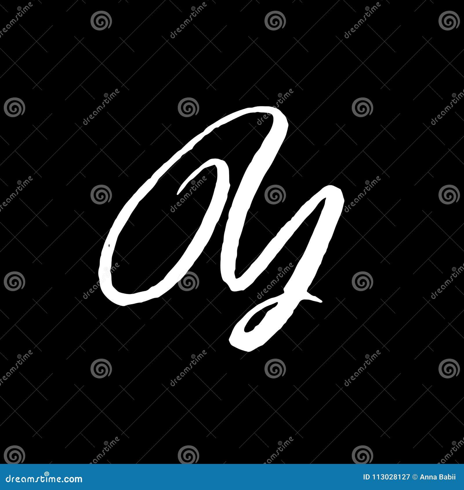 Letra Y Manuscrito por el cepillo seco Los movimientos ásperos texturizaron la fuente Ilustración del vector Alfabeto elegante de